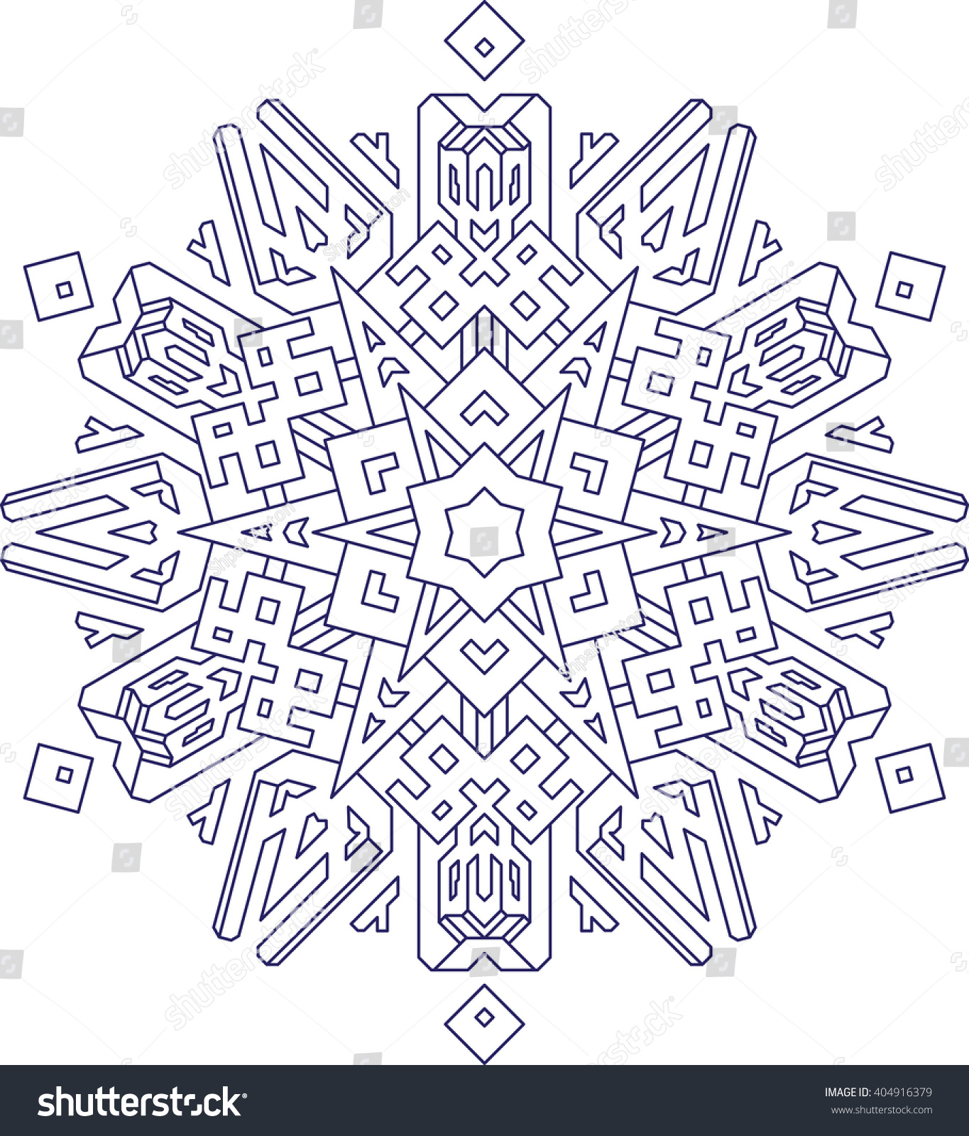 Coloring book outlines - Outlines Of Snowflake In Mono Line Style For Coloring Coloring Book Vector Geometric Pattern