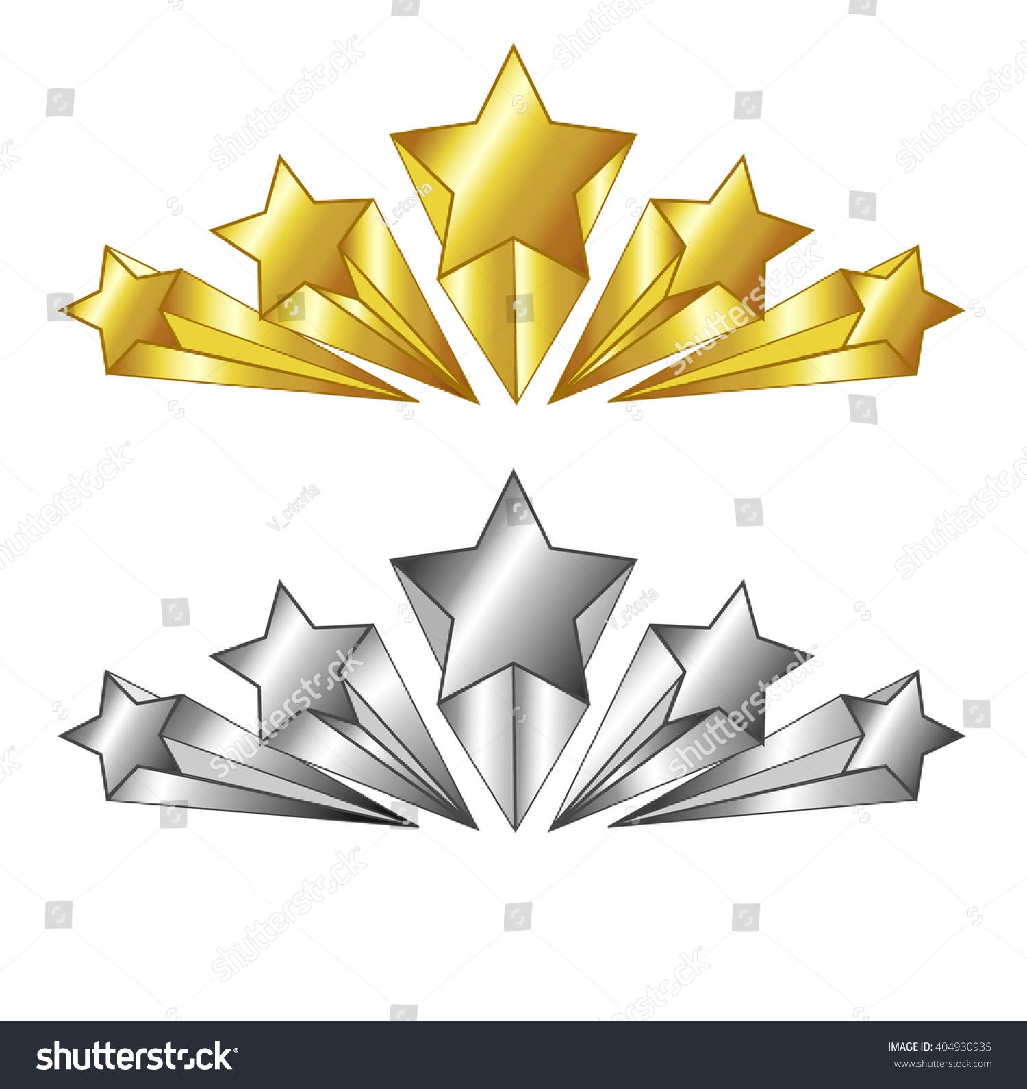 Vector 5 Star Symbol Gold Silver Stock Vector Royalty Free