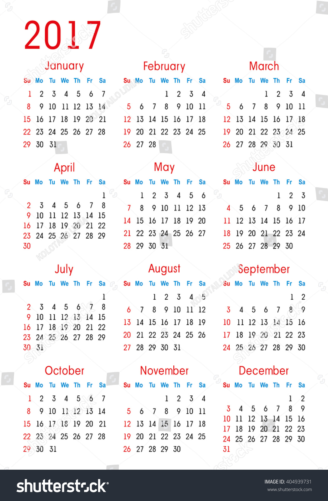 Simple Vector Calendar 2017 Stock Vector 404939731 ...