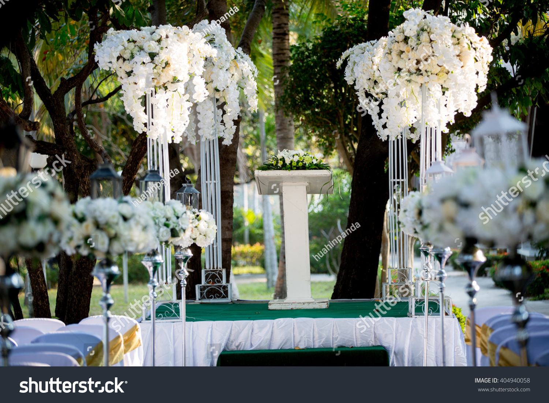 White Flower Wedding Arch Wedding Podium Stock Photo Edit Now