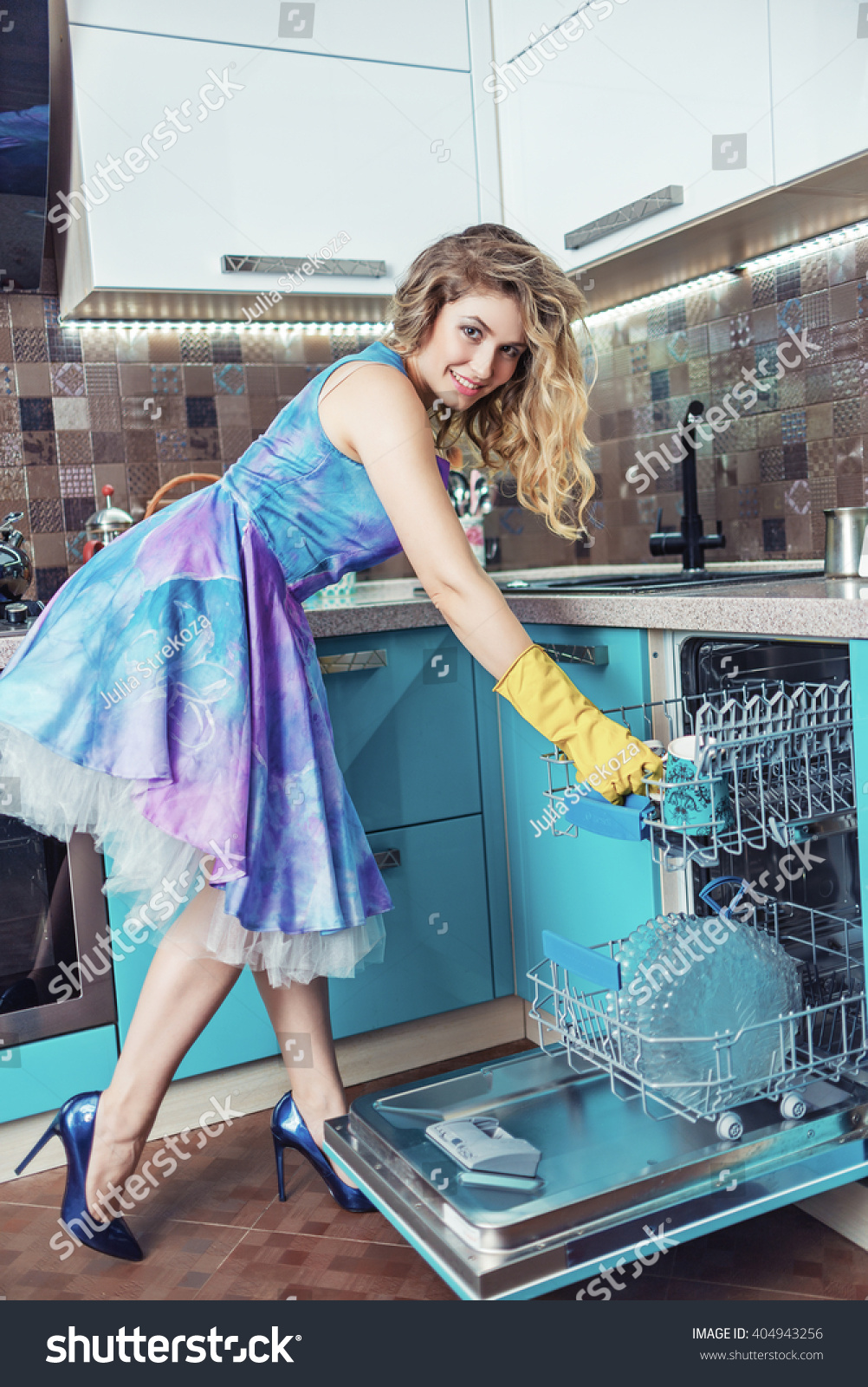 Very Cute Blond Woman Her Kitchen Stock Photo (Edit Now)- Shutterstock