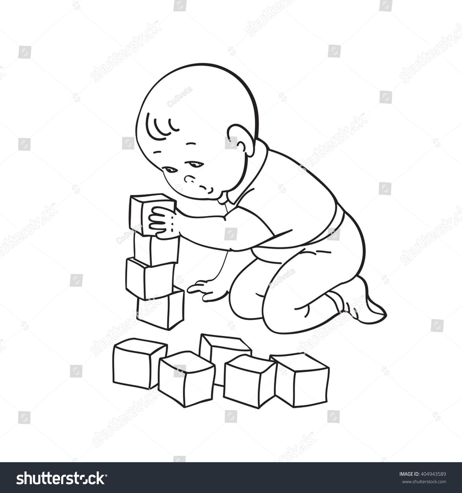 Boy Toys Drawing : Little lovely baby boy playing toys stock vector