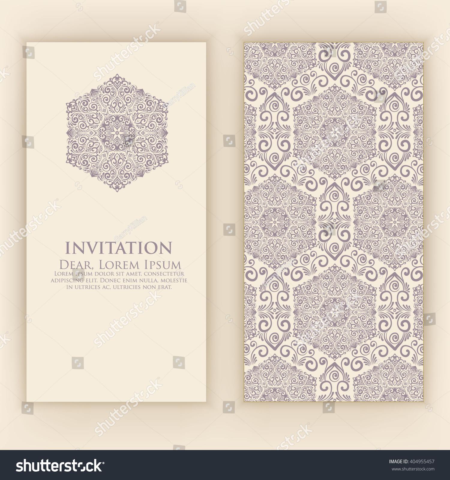 Invitation Wedding Card Damask Background Elegant Stock Vector ...