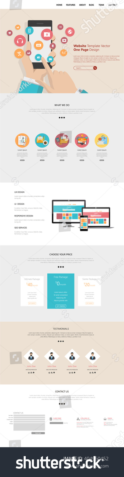 One Page Website Template Vector Eps10 Modern Web Design With Flat