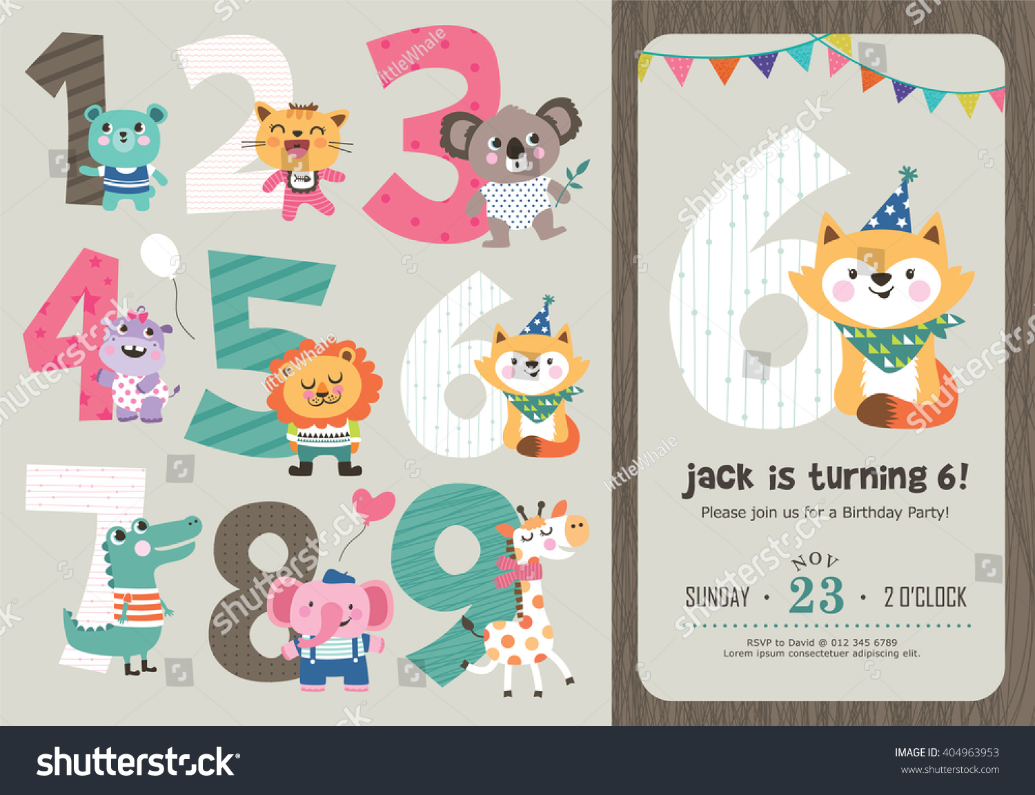 Birthday Anniversary Numbers Cute Animals Birthday Vector – Birthday Party Card Template