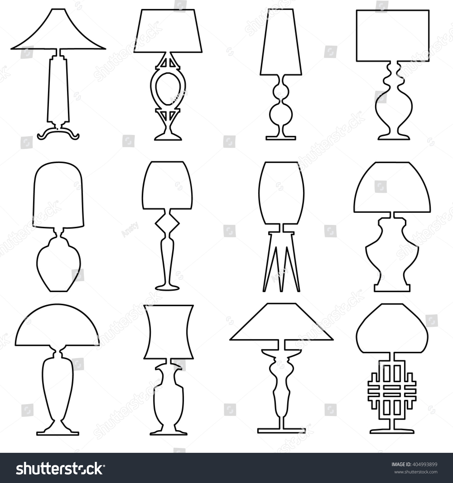 Table lamp for drawing - Set Of Lamp Outline Icon Isolated On White Background Collection Of Vector Drawing Icons Of