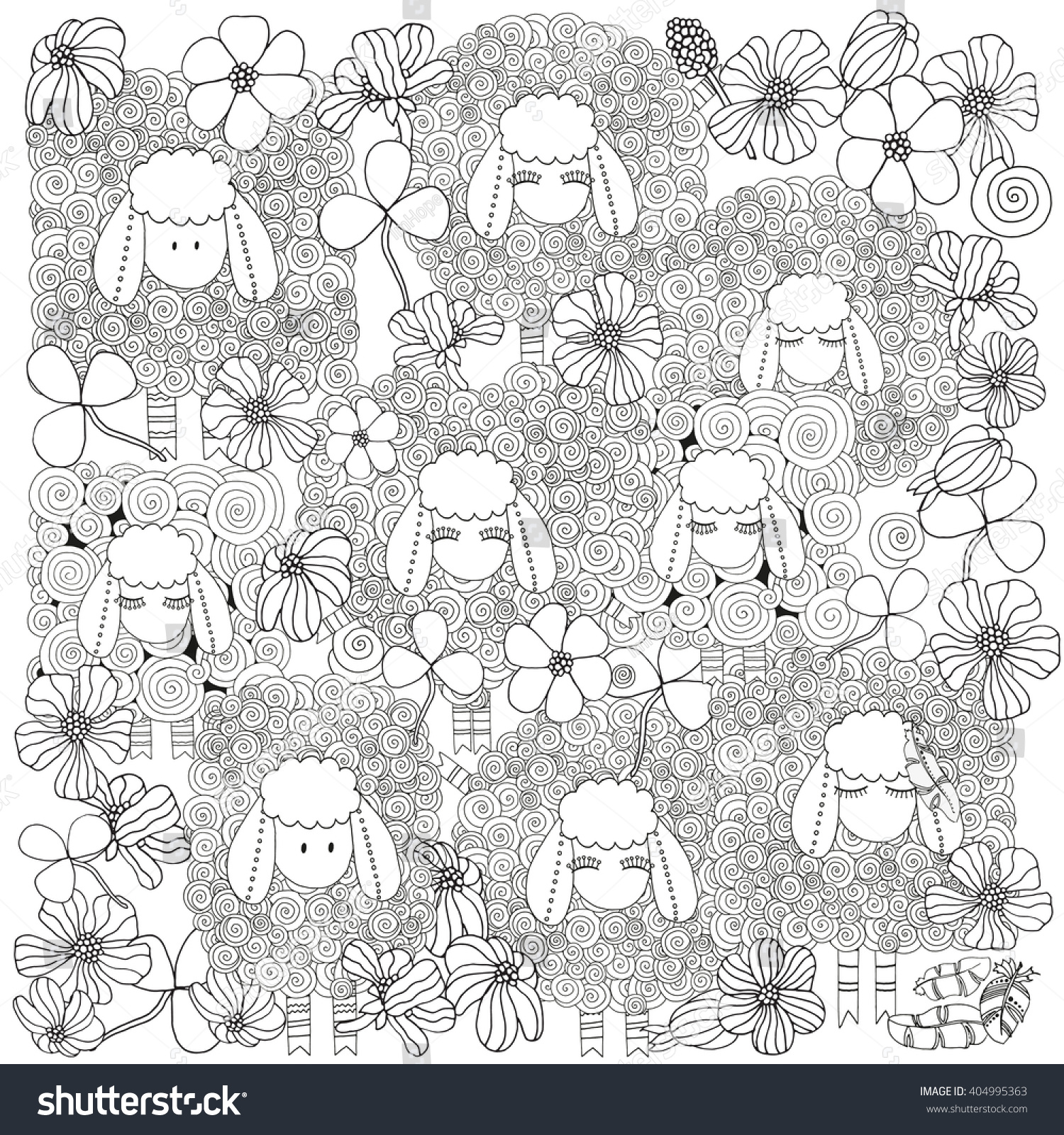Coloring Book Page Adult Children Set Stock Vector (Royalty Free ...