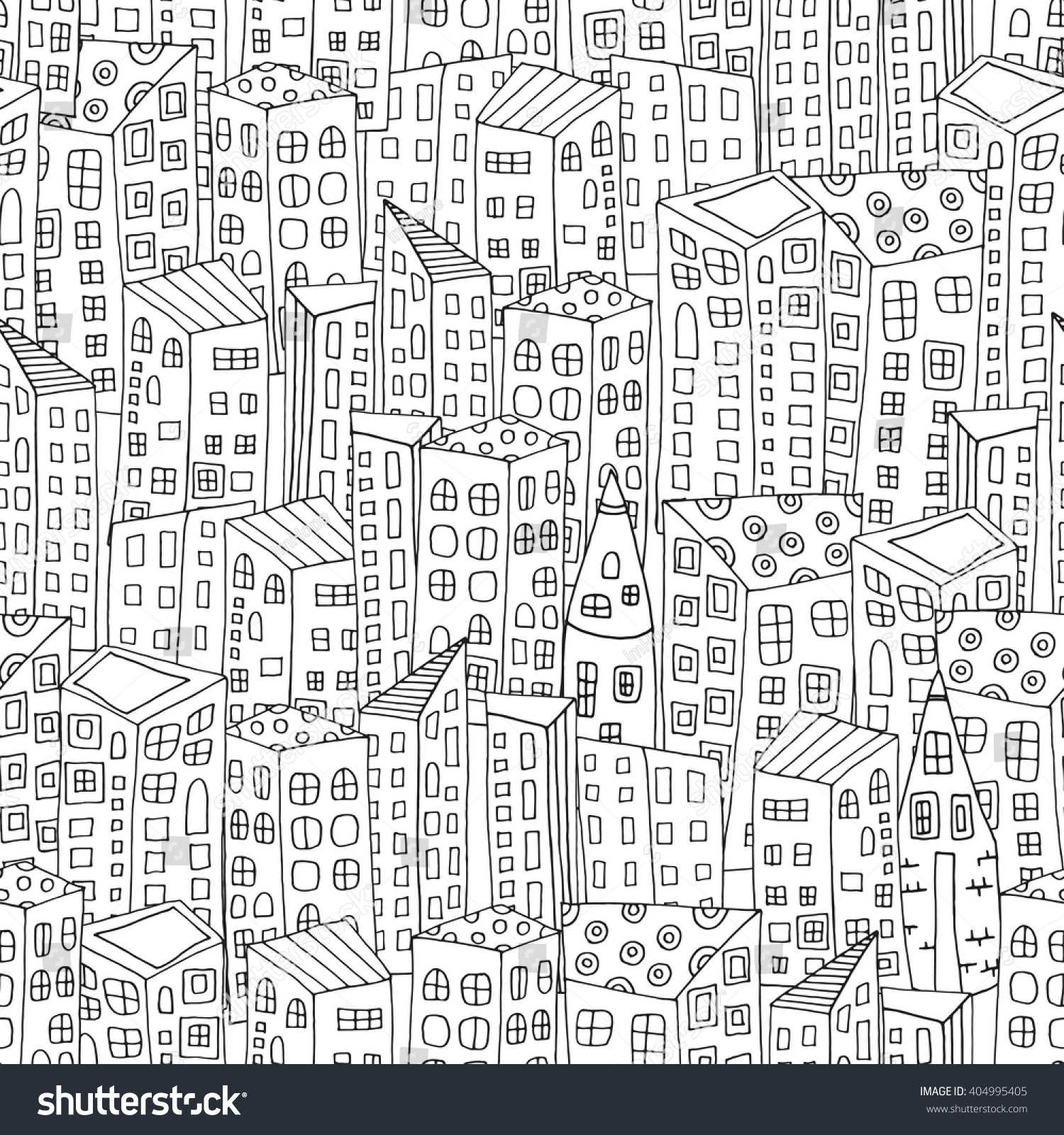 Th the magical city colouring in book - Seamless Pattern With Artistically City Houses Magic City Street Background Pattern For Coloring