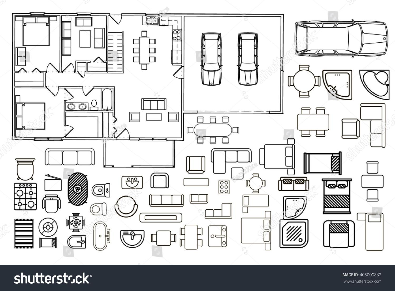 Floor Plan Furniture Vector