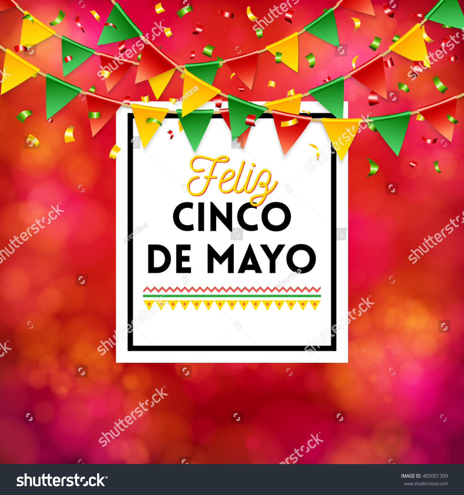 Vector bunting flags lovely celebration card with colorful paper - Bright Red Poster Elements For Cinco De Mayo Celebration Over Obscured Spotted Background With Flags