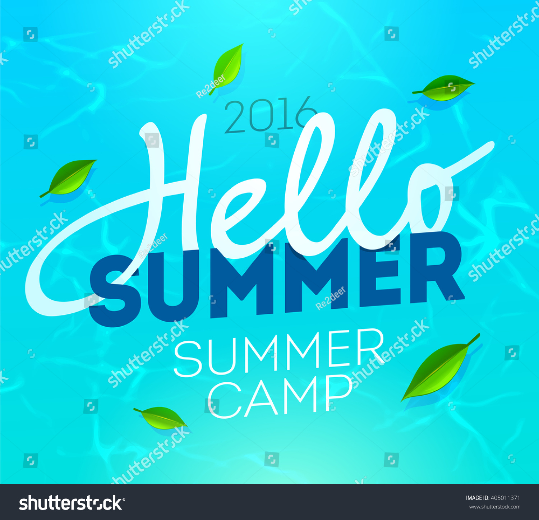 hello summer holiday summer camp poster stock vector  hello summer holiday and summer camp poster traveling template summer poster vector illustration