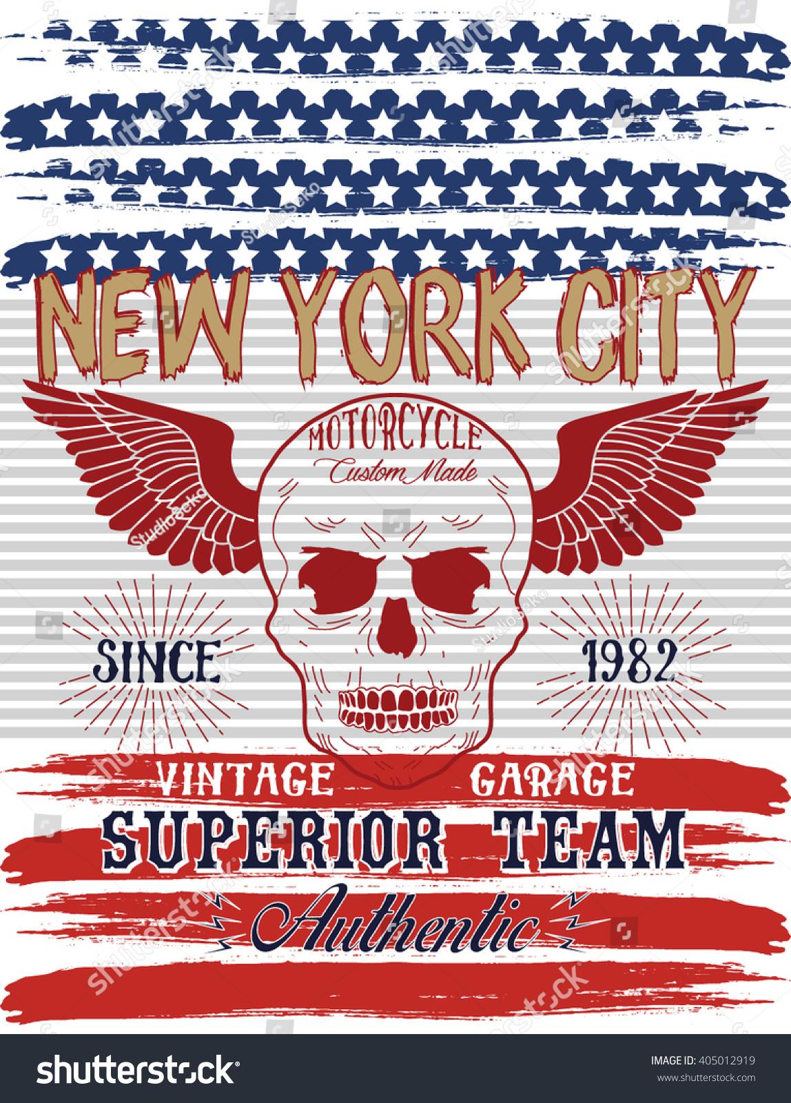 Nyc Motorcycle Vintage Garage American Flag Stock Vector Royalty Free 405012919