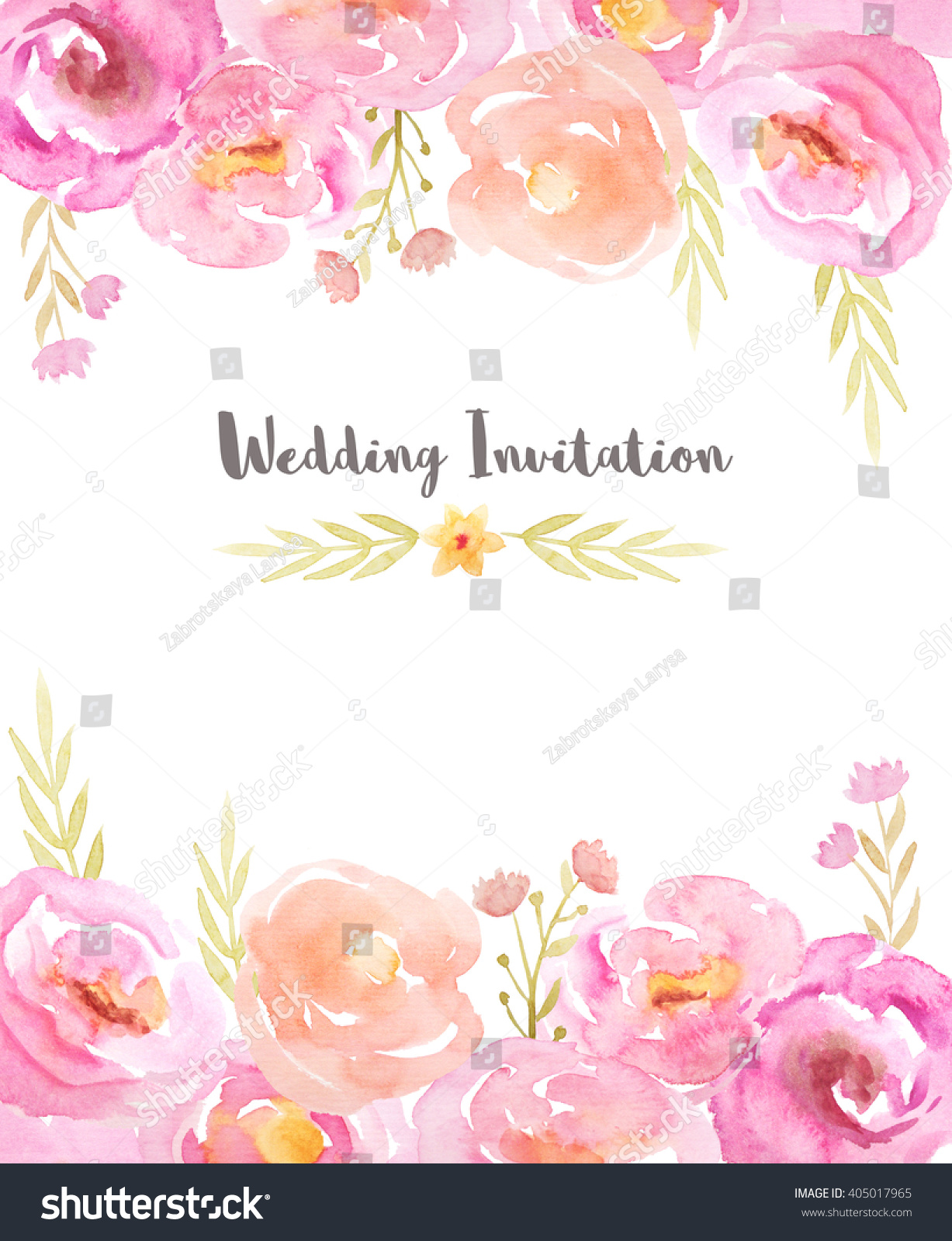 Wedding Invitation Template Hand Painted Watercolor Stock ...