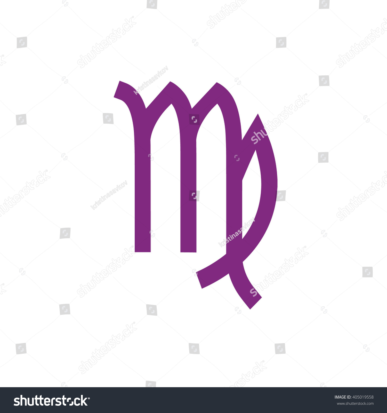 Purple Virgo Zodiac Sign Astrology Symbol Stock Vector Royalty Free