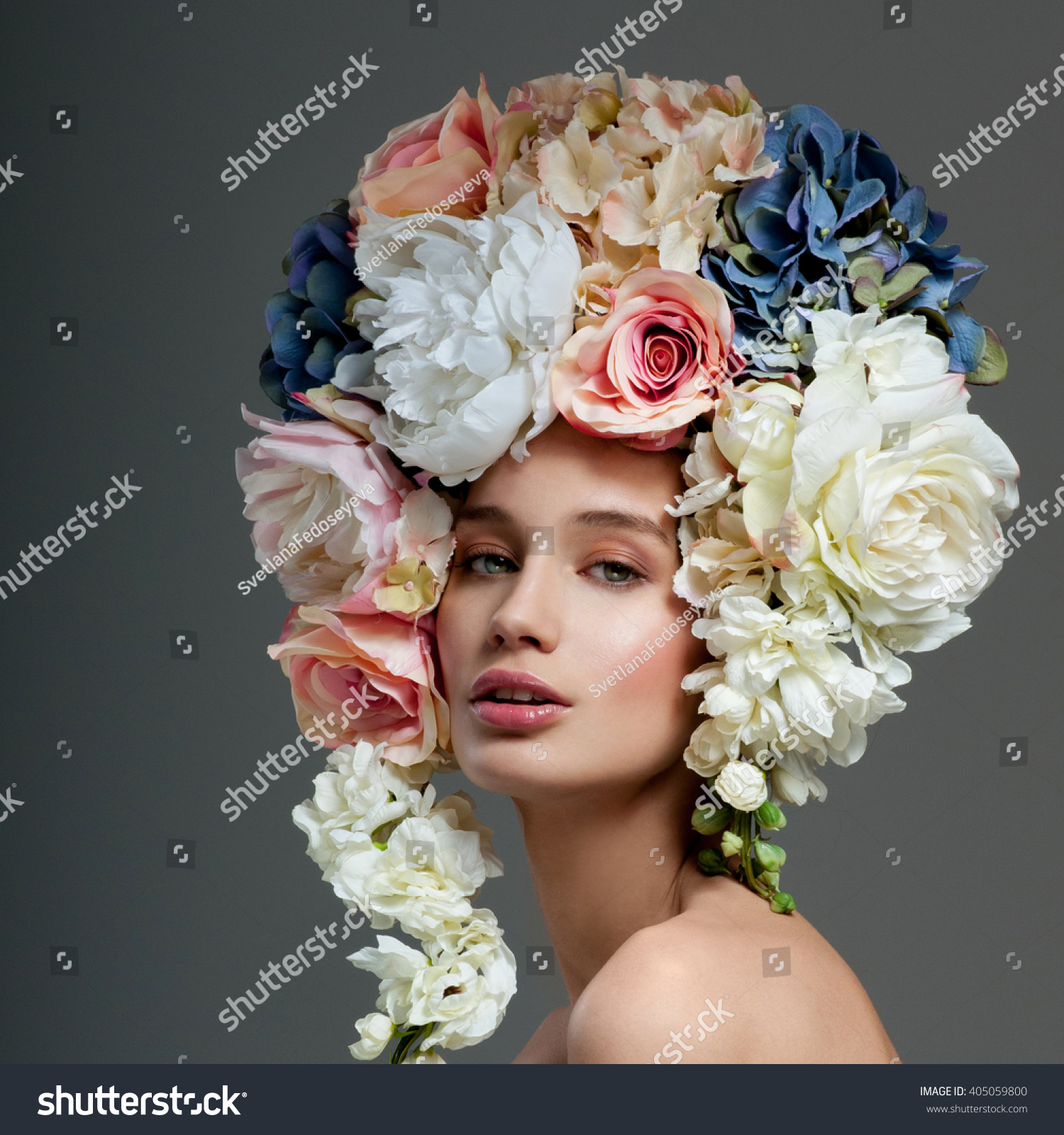 Beautiful woman flowers her hair bouquet stock photo 405059800 beautiful woman with flowers in her hair bouquet of beautiful flowers hairstyle with flowers dhlflorist Gallery