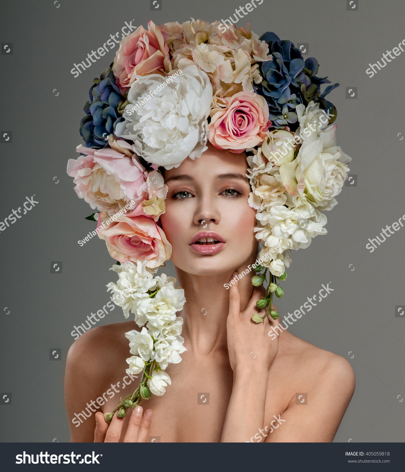 Beautiful woman flowers her hair bouquet stock photo safe to use beautiful woman with flowers in her hair bouquet of beautiful flowers hairstyle with flowers izmirmasajfo