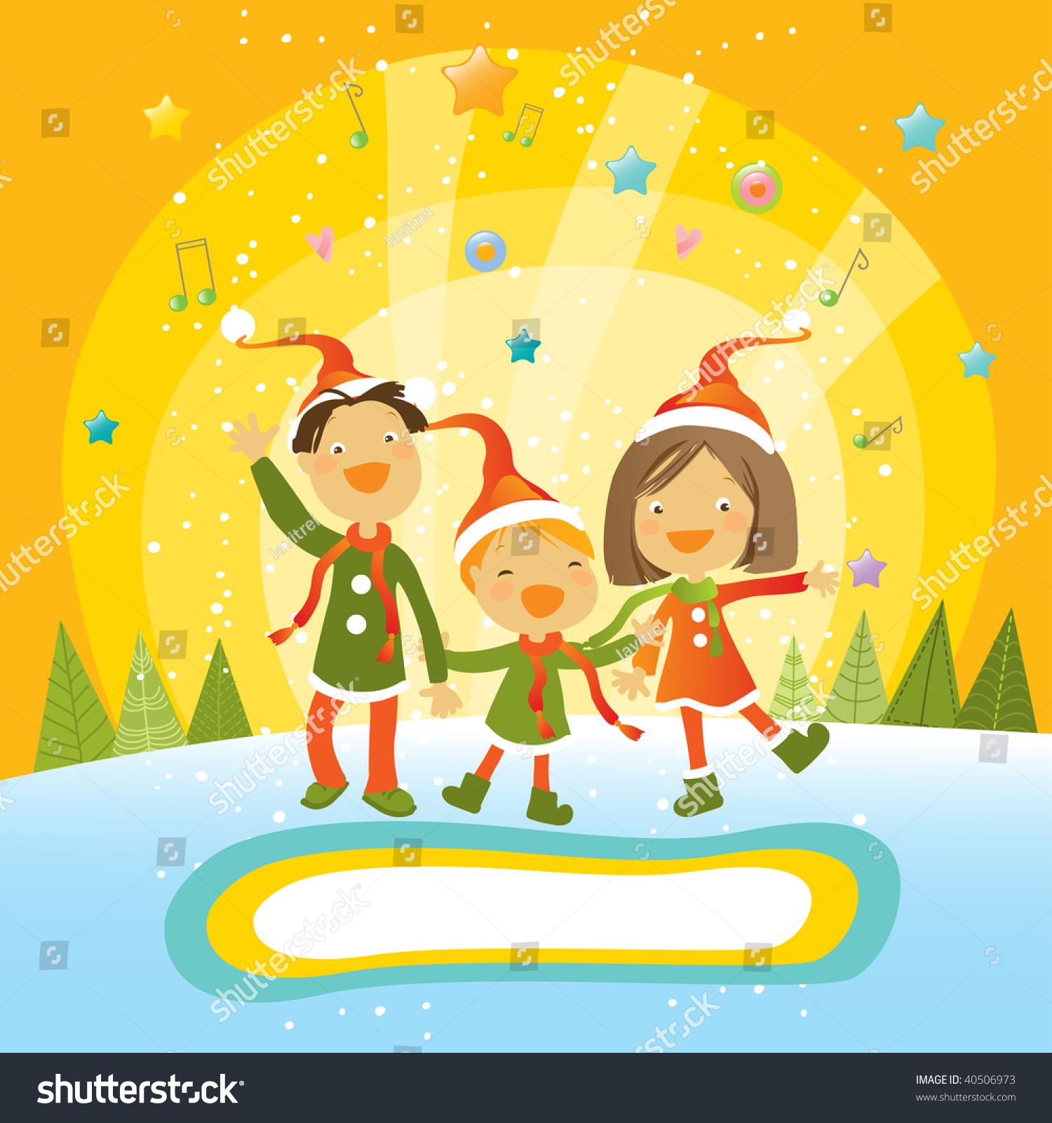Kids Santa Hat Singing Christmas Card Stock Vector (Royalty Free ...