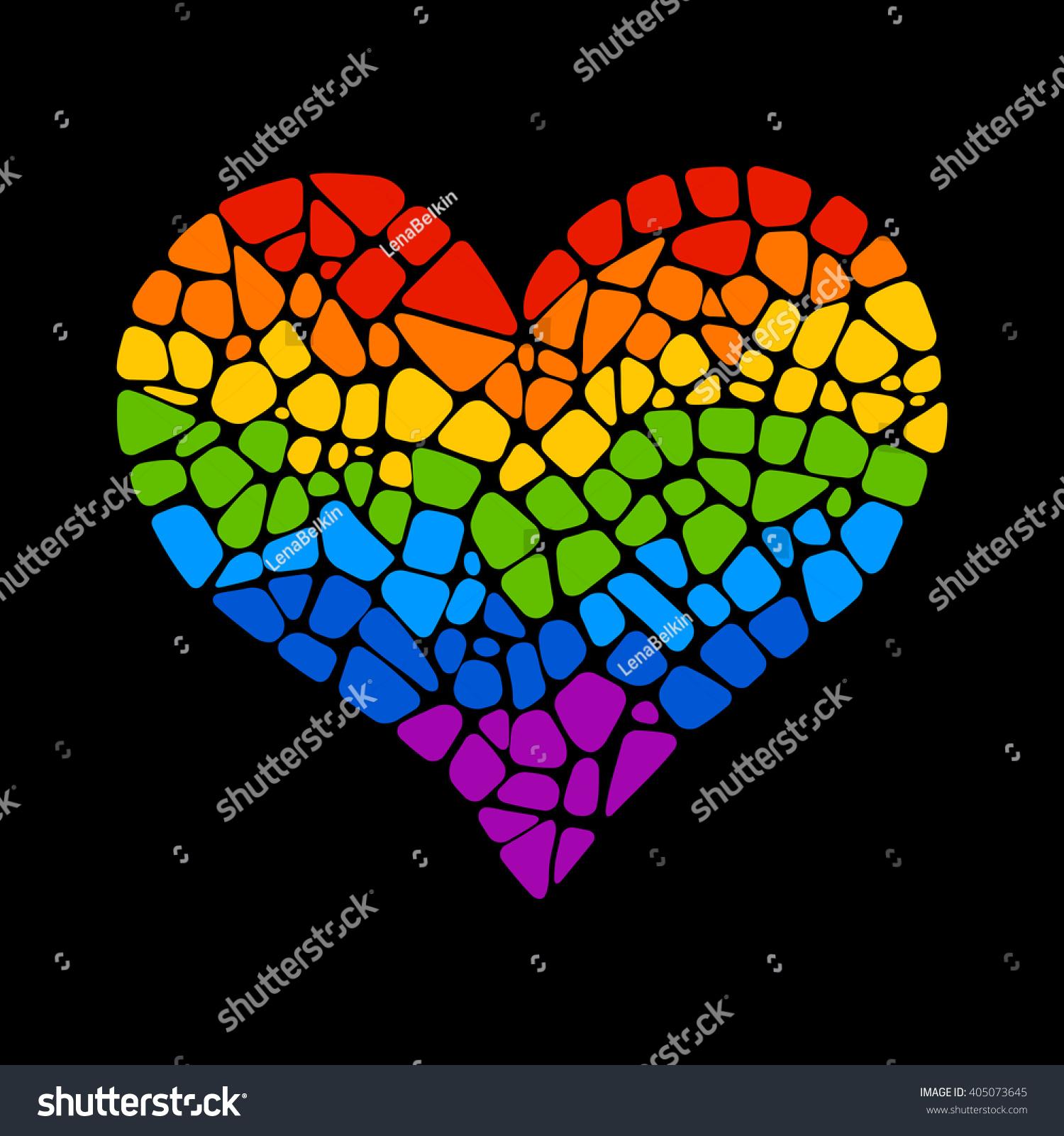 Mosaic rainbow heart on black background stock vector 405073645 mosaic rainbow heart on black background lgbt logo gay culture sign design element kristyandbryce Gallery