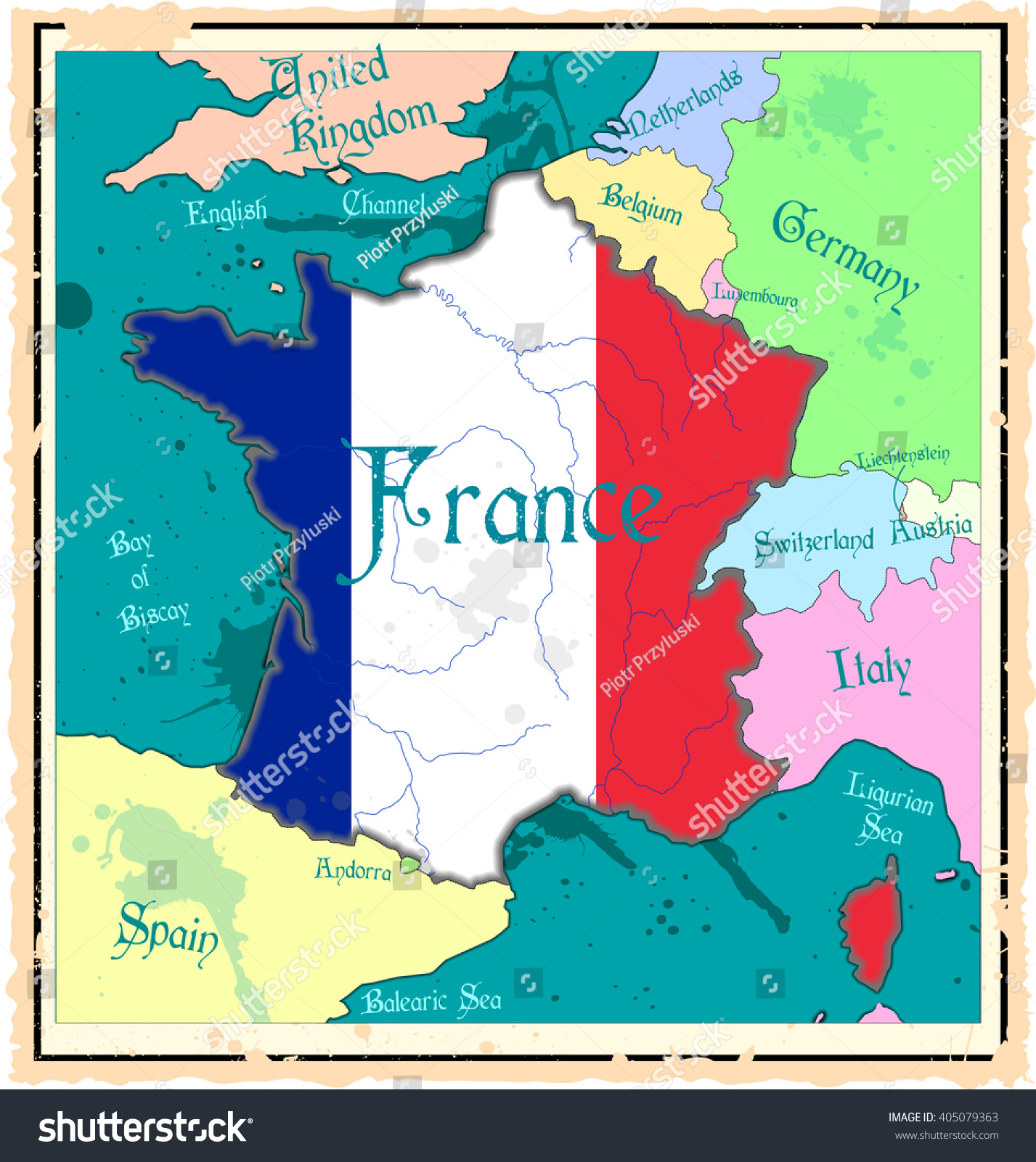 Map Of France In English.France Retro Style Political Map French Stock Vector Royalty Free