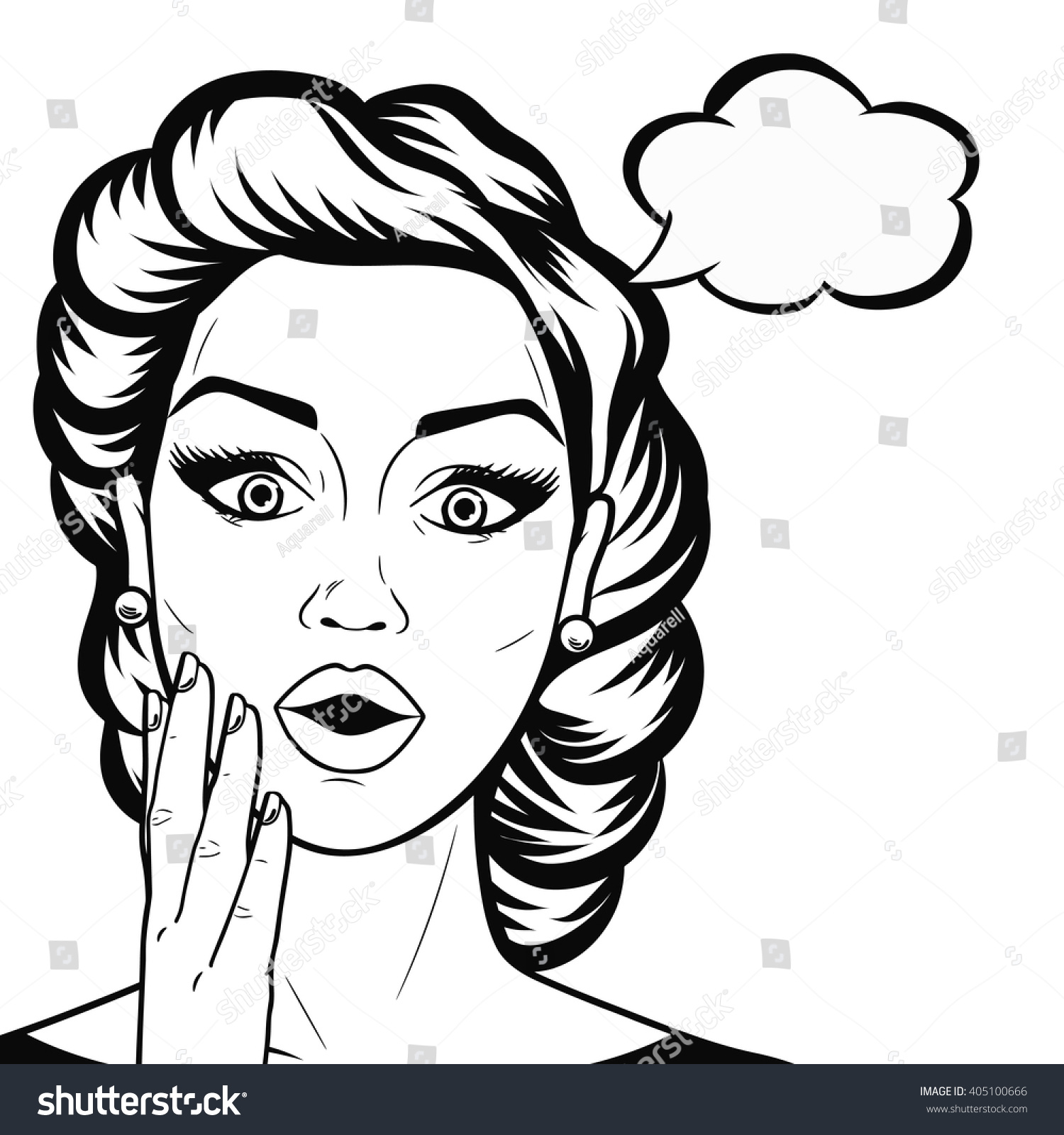 Woman Face Line Drawing Vector : Line art woman face open mouth stock vektor