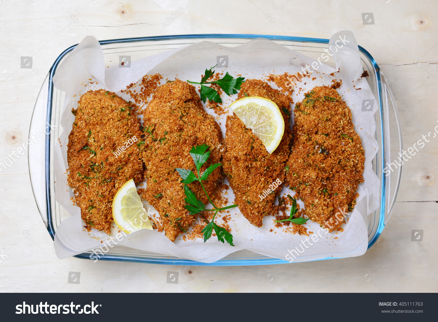 Baked In Bread Crumbs Chicken Breast Stock Photo 405111763 ...