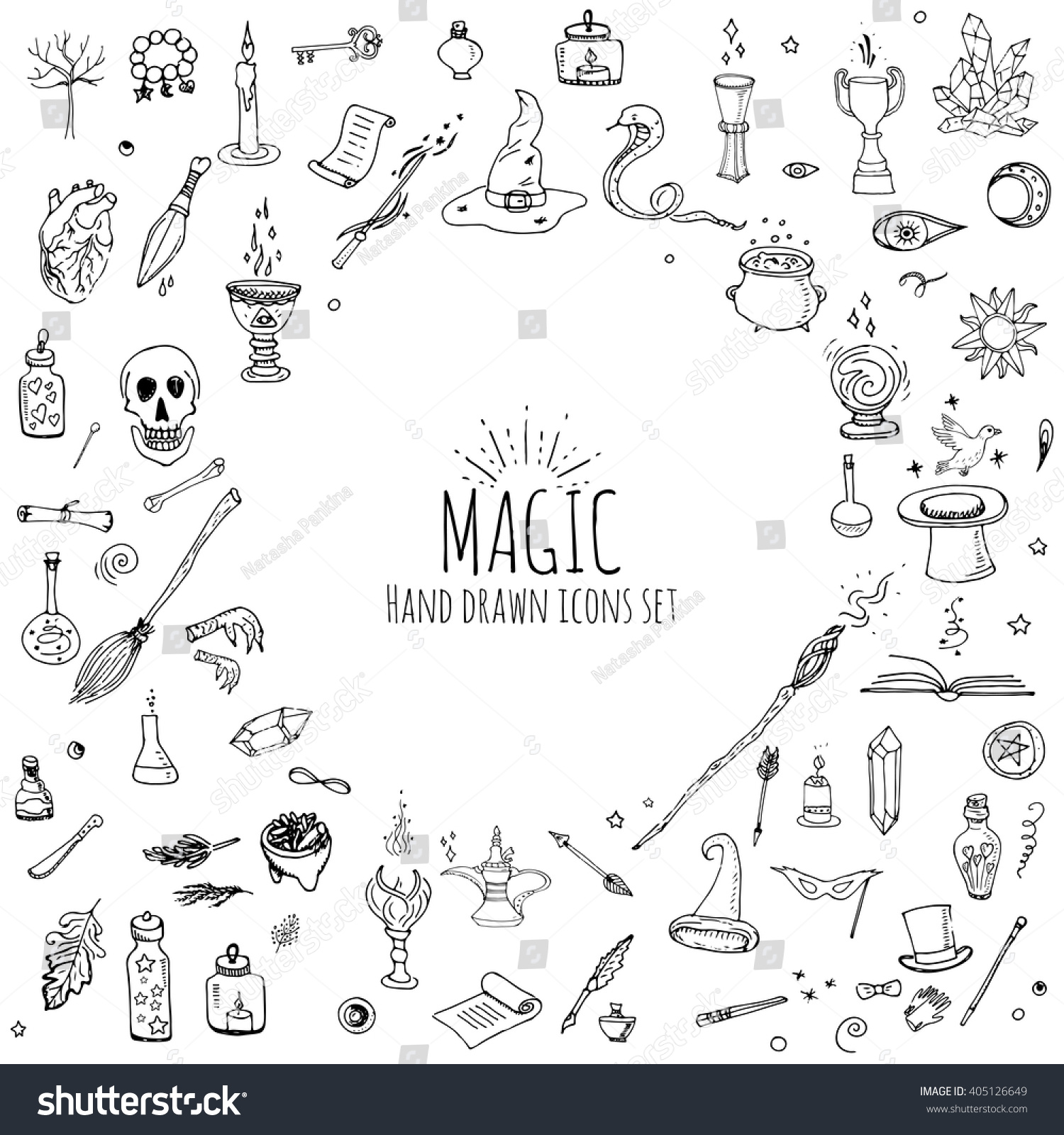 Hand drawn doodle magic set vector stock vektorgrafik 405126649 hand drawn doodle magic set vector illustration wizardry witchcraft symbols isolated icons collection cartoon buycottarizona