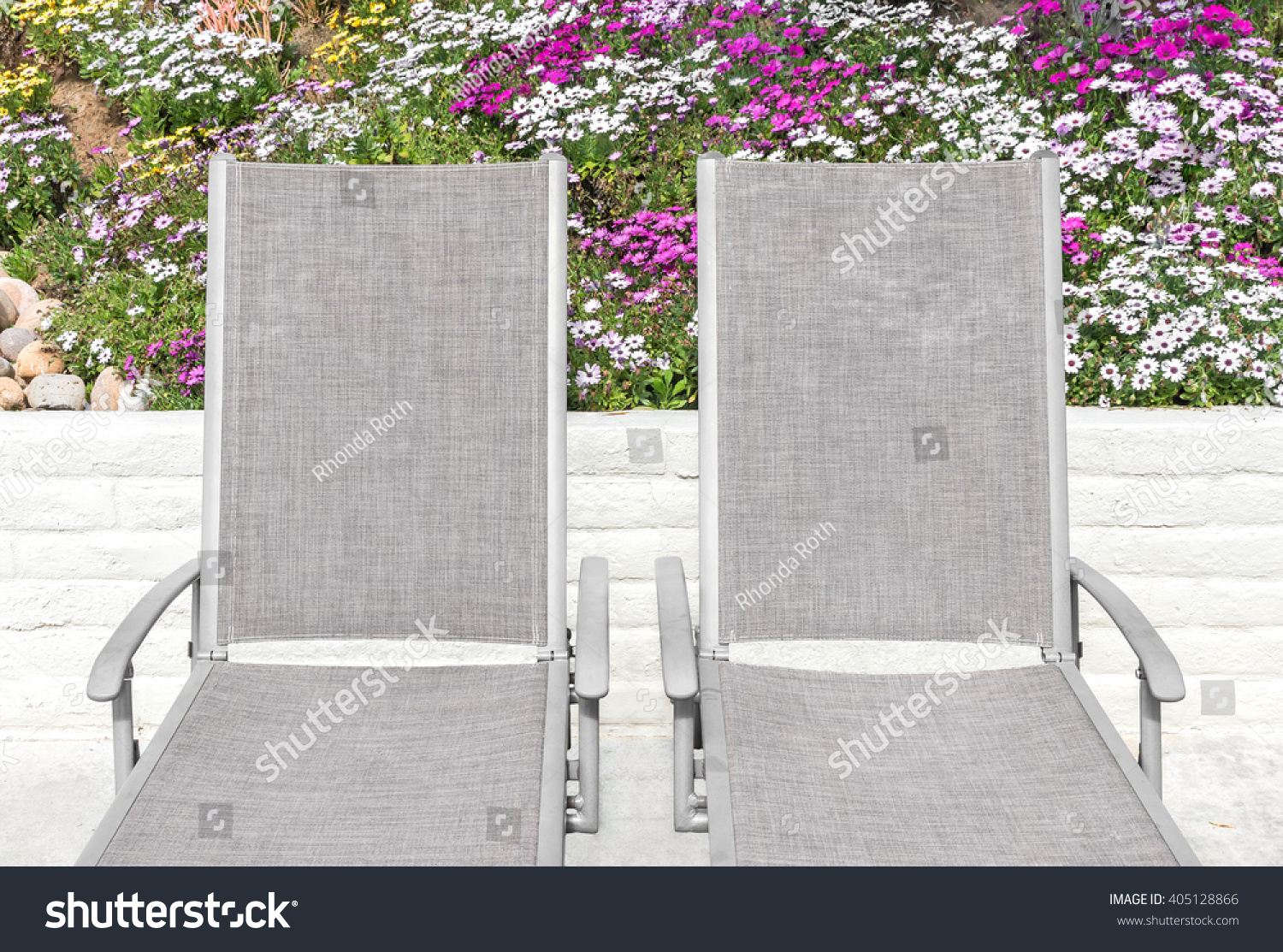 Miraculous Two Outdoor Lounge Chair Recliners Colorful Stock Photo Caraccident5 Cool Chair Designs And Ideas Caraccident5Info