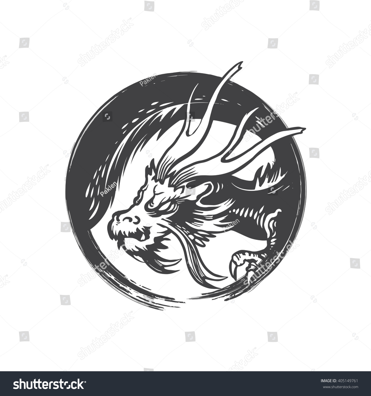 Chinese Dragon Symbol Vector Stock Vector 405149761 Shutterstock