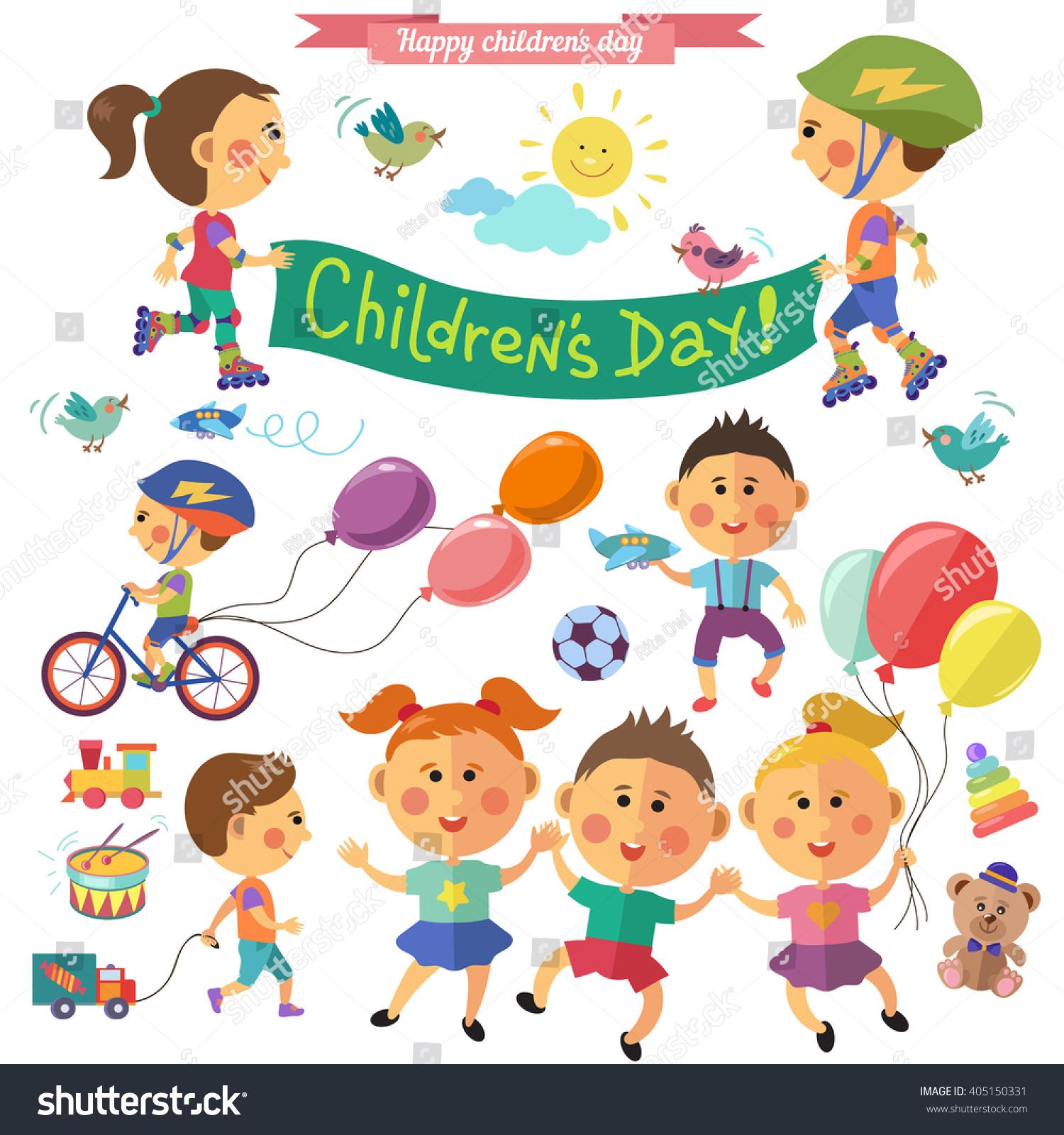 happy children children day vector set のベクター画像素材