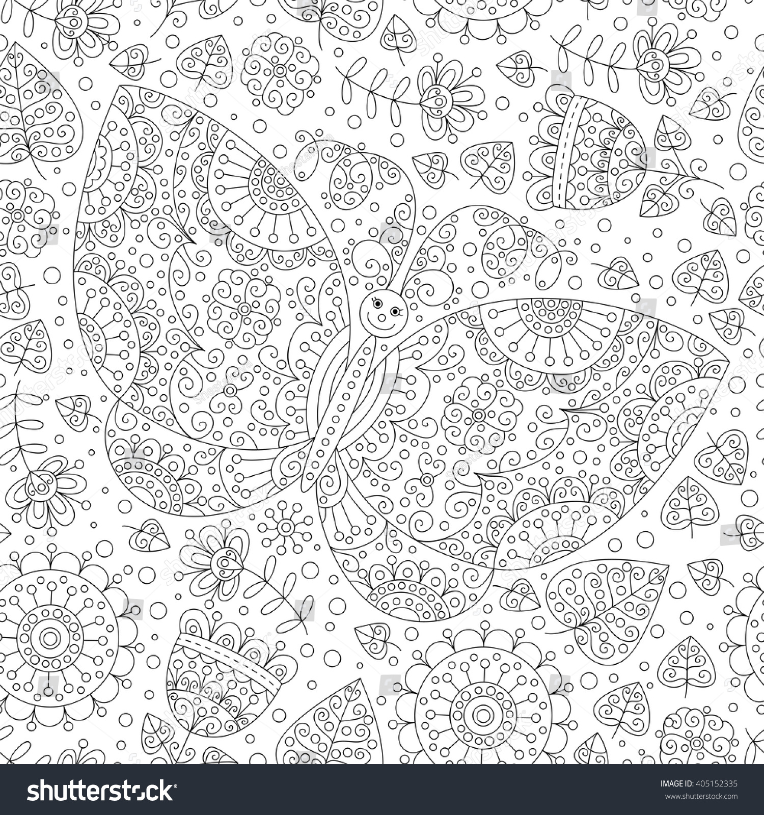 stock vector vector butterfly and flowers monochrome seamless pattern black and white background coloring page