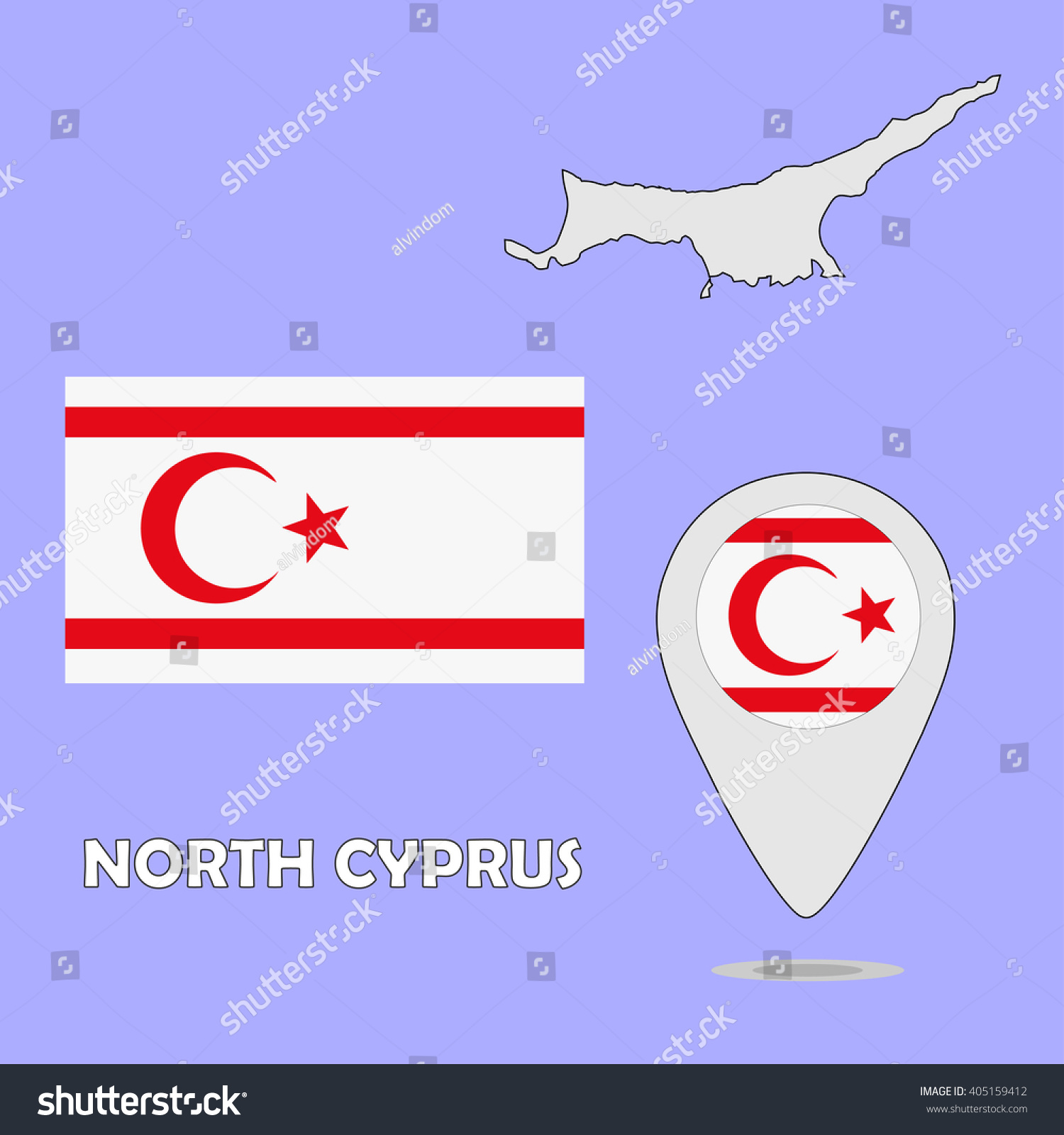 Pointer Map Flag North Cyprus Stock Vector 405159412 Shutterstock
