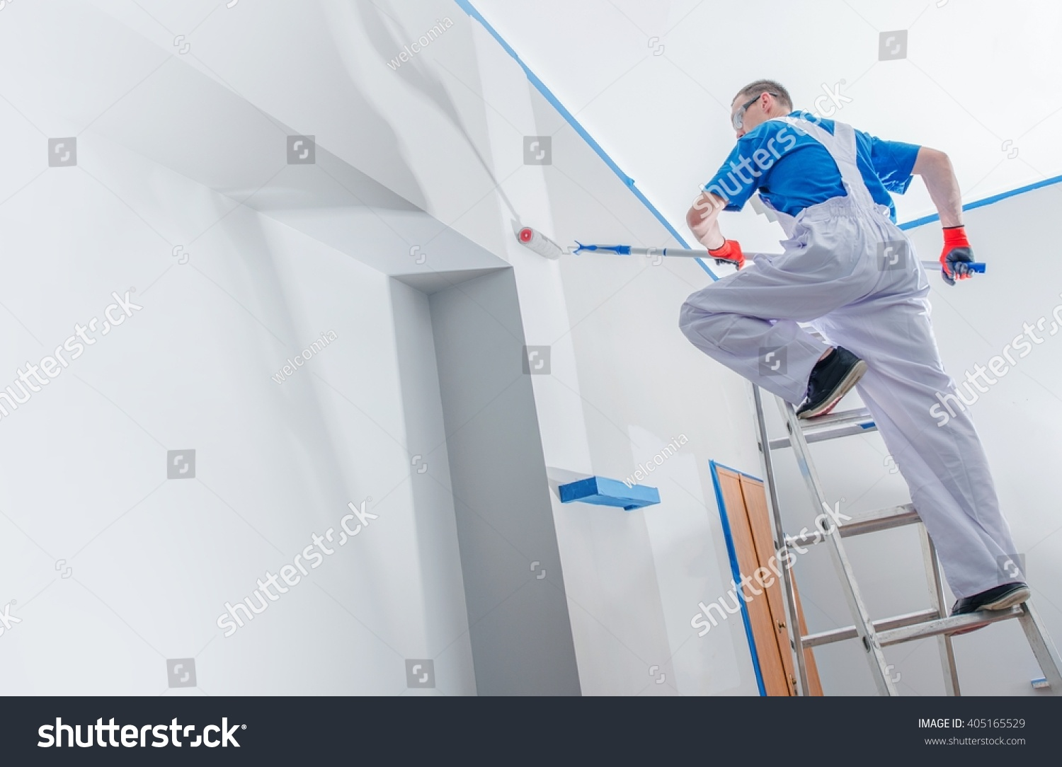 house painting renovation business concept caucasian stock photo