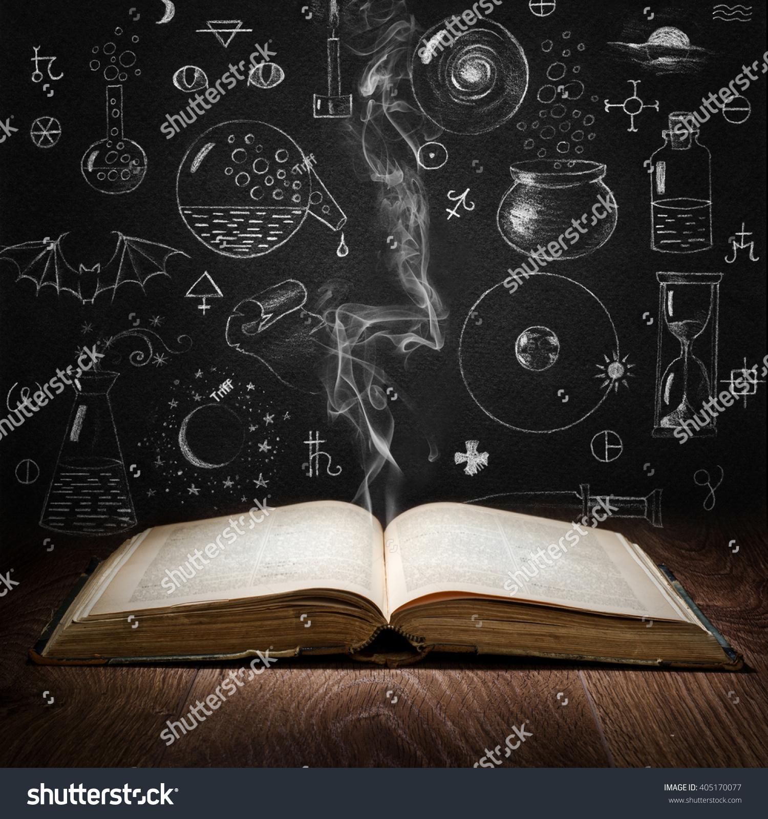 Opened Magic Book Alchemy Symbols On Stock Photo Edit Now