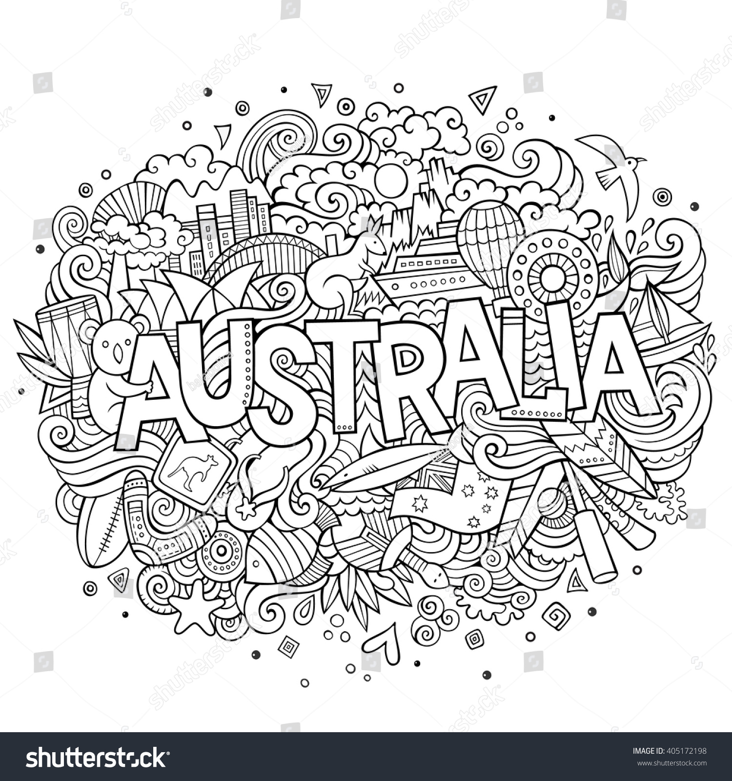 Stock vector music hand lettering and doodles elements - Australia Country Hand Lettering And Doodles Elements And Symbols Background Vector Hand Drawn Sketchy Illustration