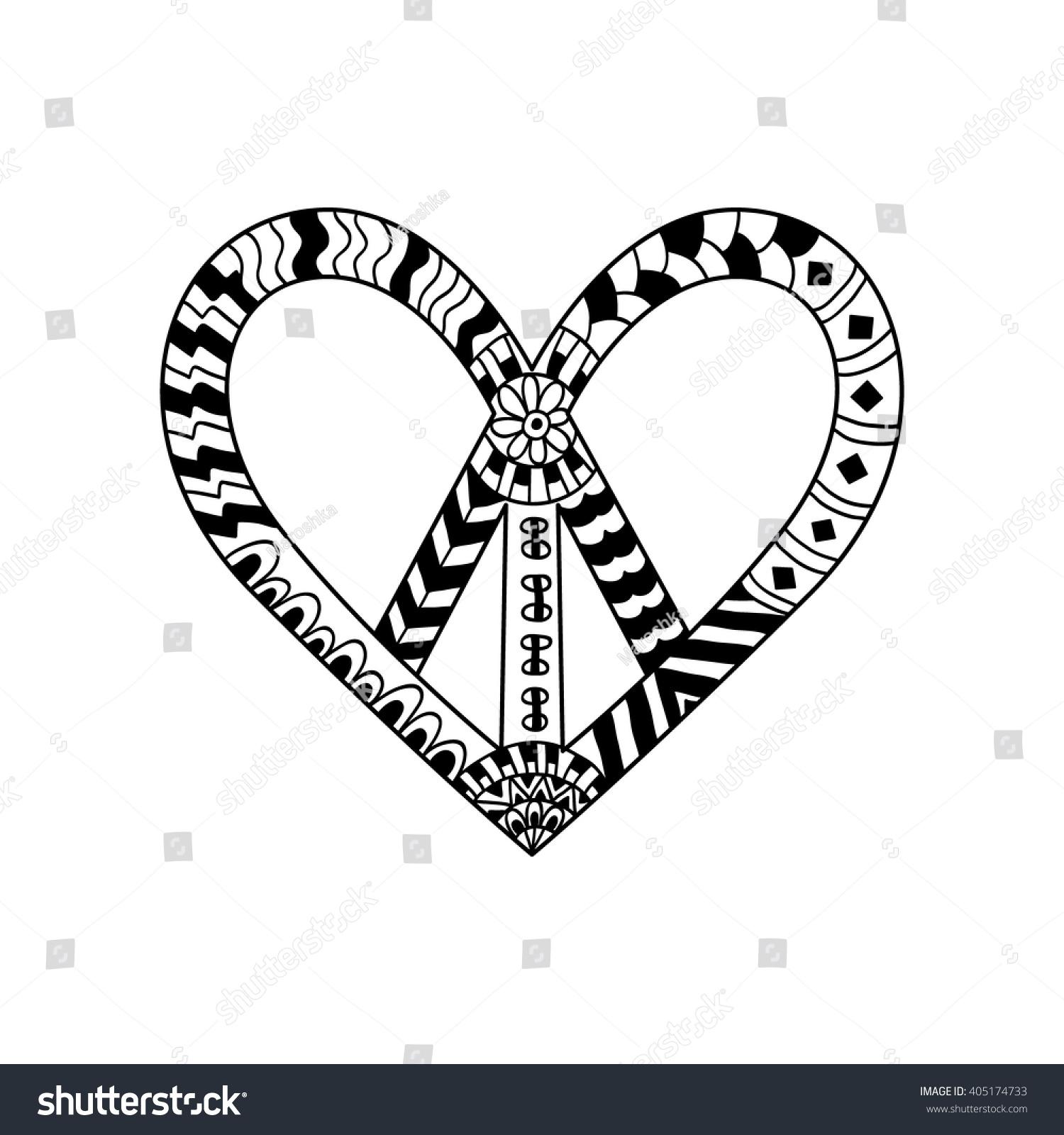 Hippie Peace Symbol Zentangle Style Adult Stock Vector 405174733
