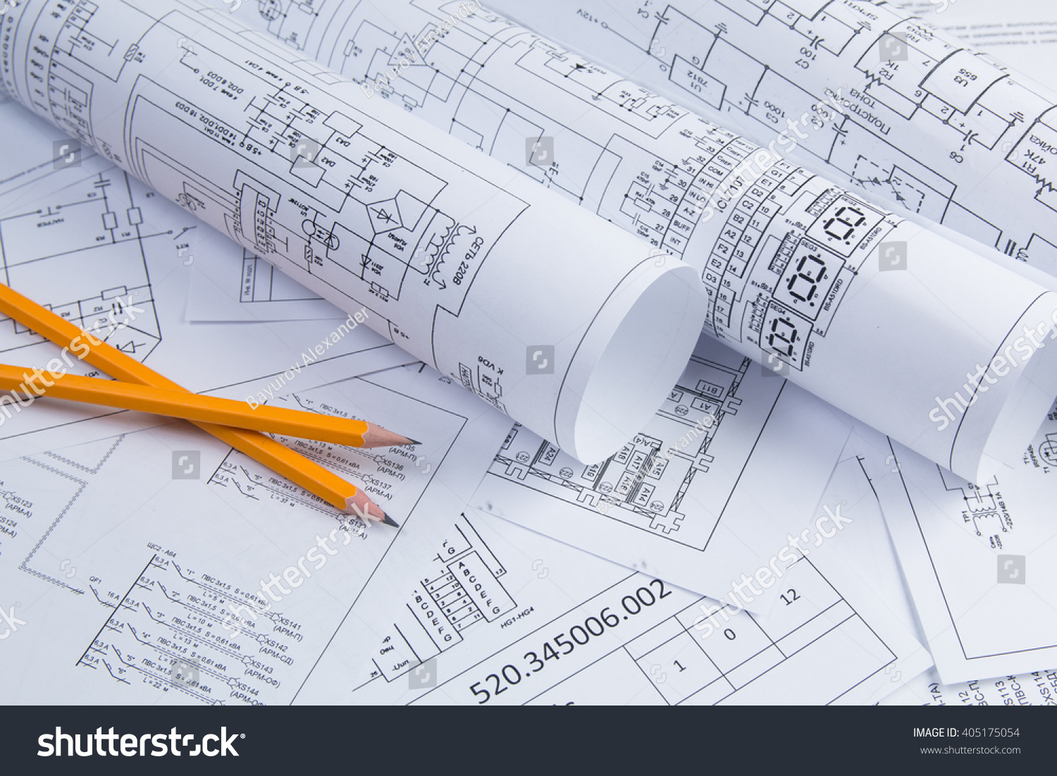 Science Technology Electronics Electrical Engineering Drawings Stock Diagram And Printing With Pencil Scientific Development