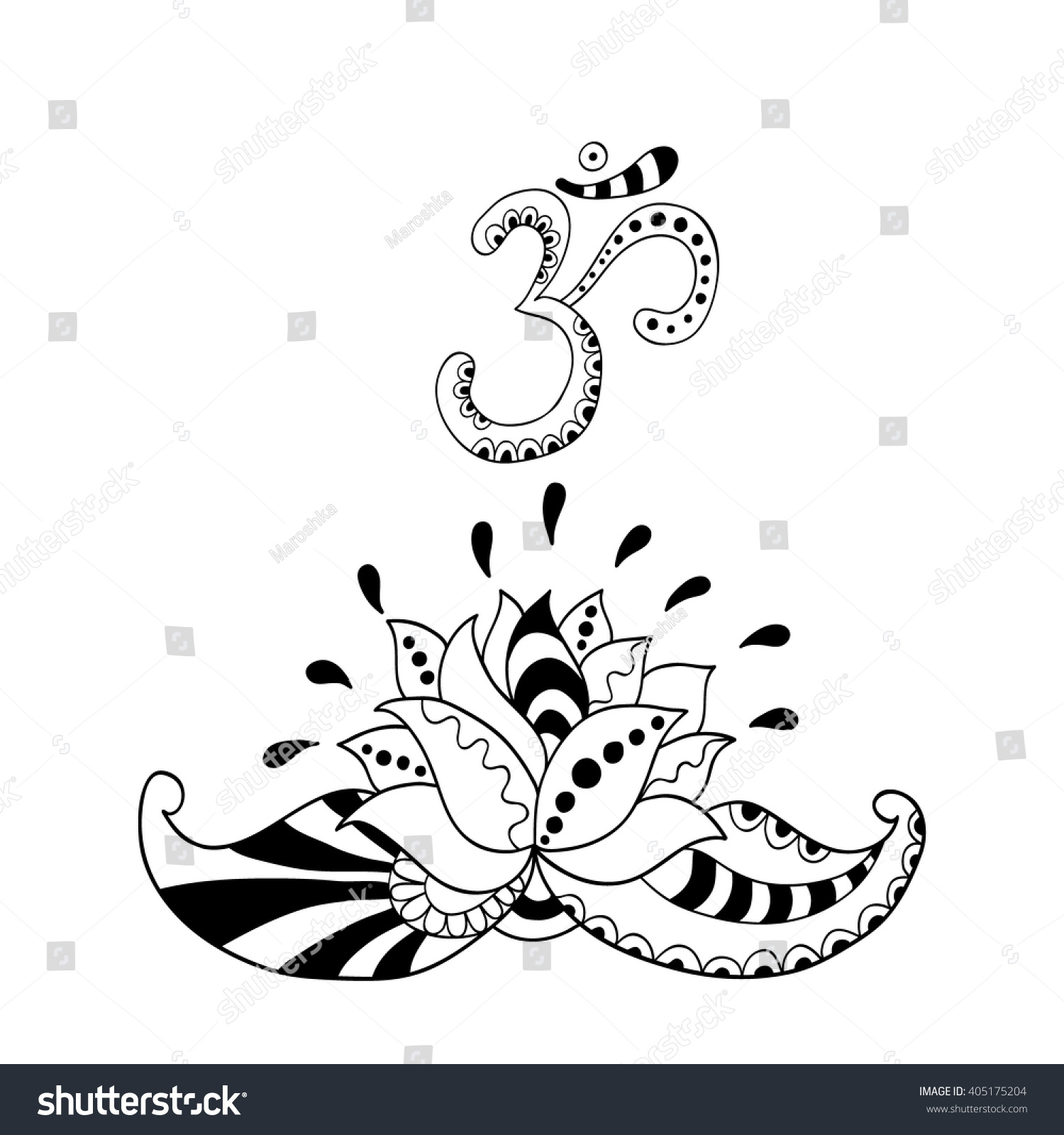 lotus flower silhouette symbol om water stock vector 405175204