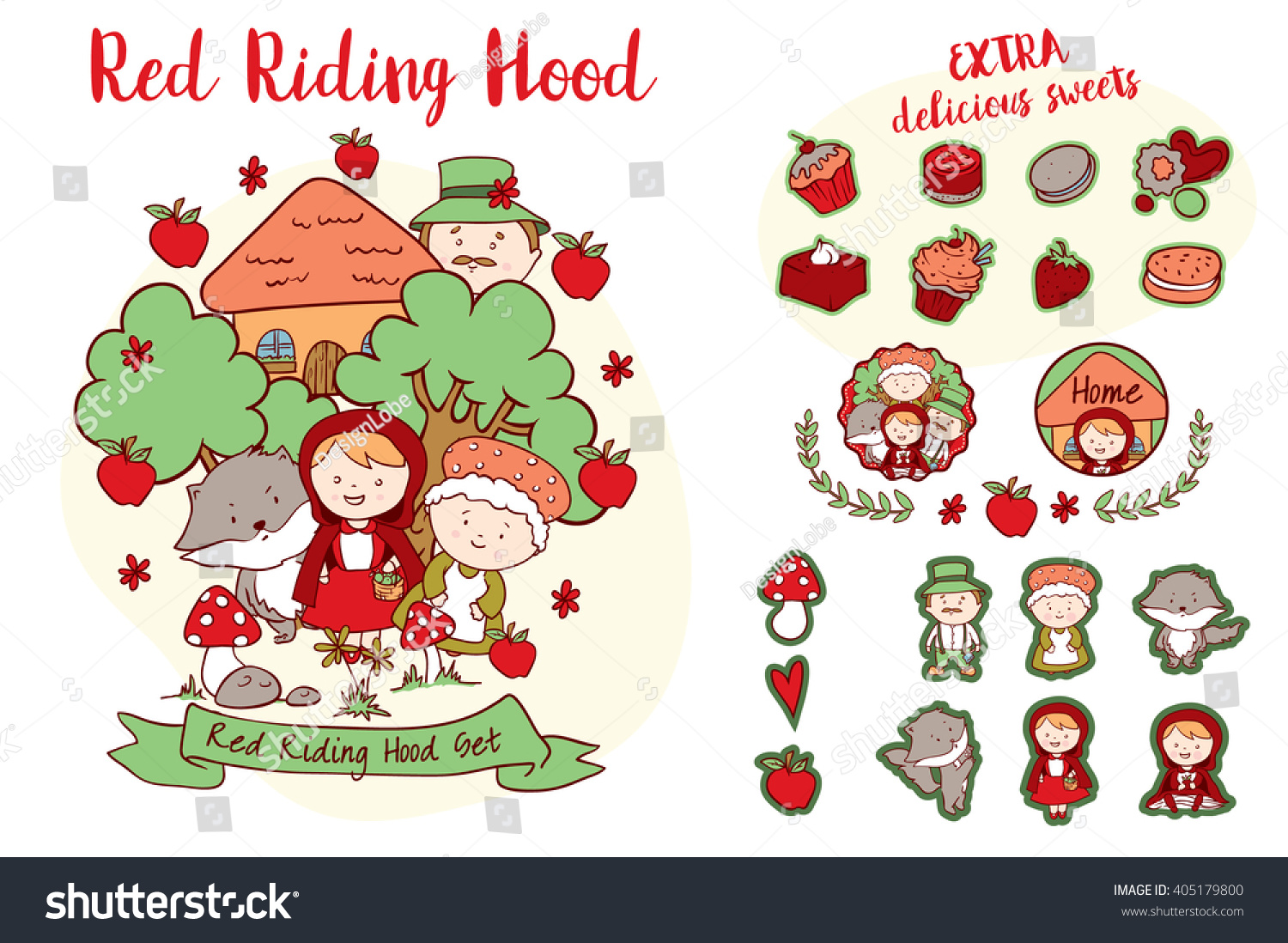 Little red riding hood characters decorative stock vector little red riding hood characters and decorative elements of a famous story including riding buycottarizona