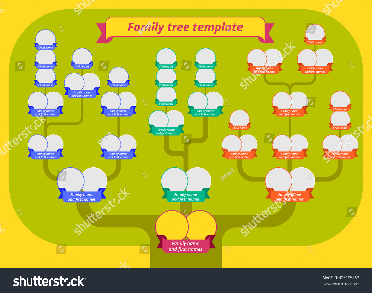 Family Tree Template Modern Flat Style Stock Vector Royalty Free