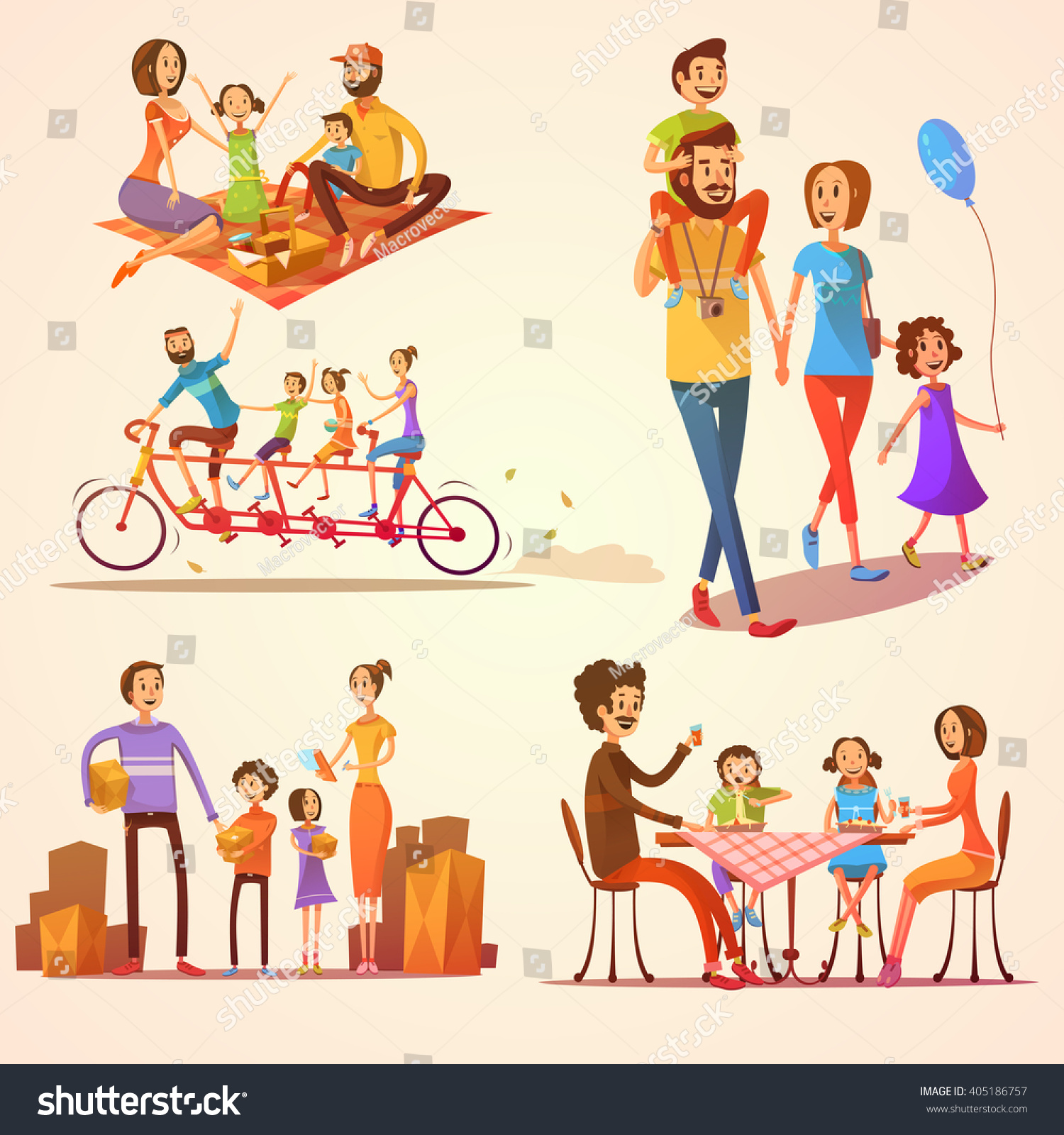 Family Retro Cartoon Set Celebrations Holidays 405186757