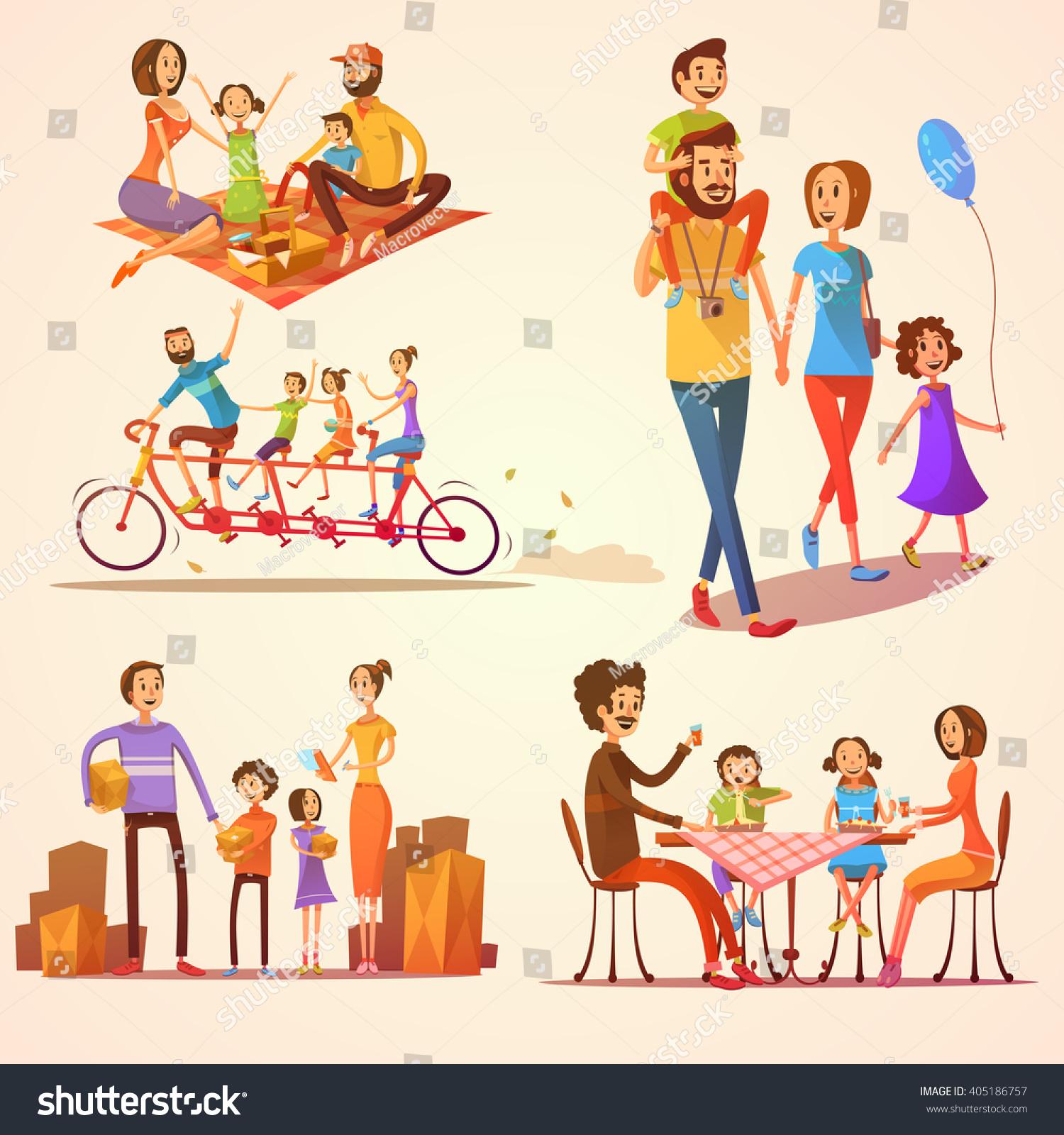 Family Activities: Family Retro Cartoon Set With Celebrations Holidays And