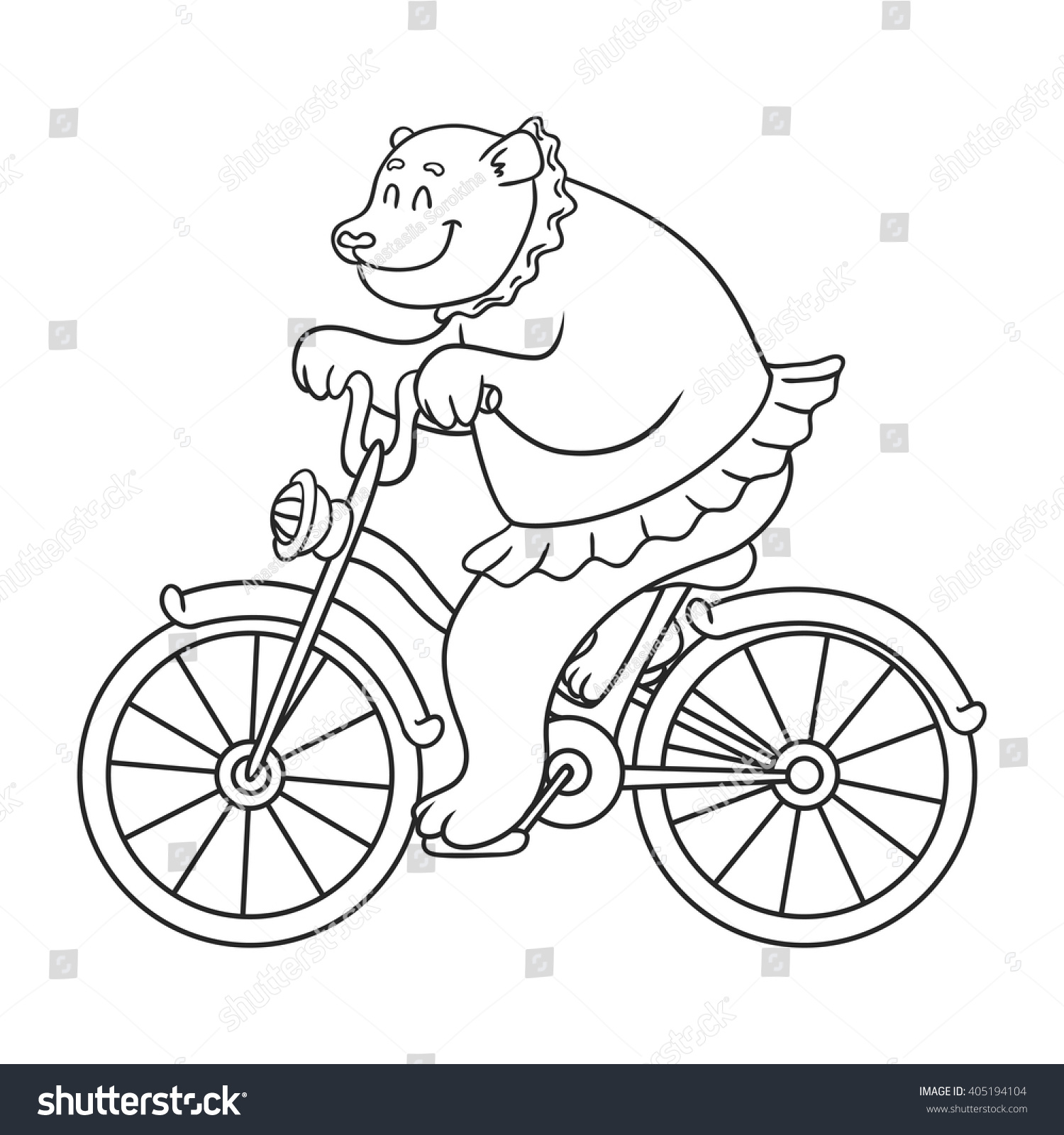 bear riding on a bicycle vector illustration coloring book - Bicycle Coloring Book