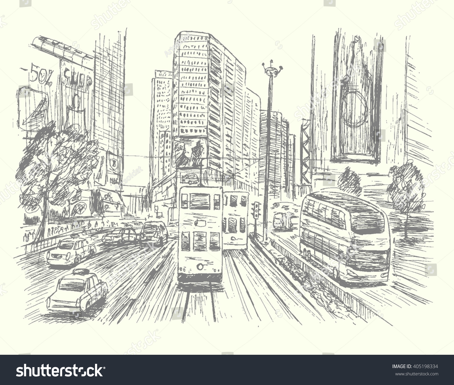 Hong Kong City Scene With Busy Street,Hand Drawn,Sketch