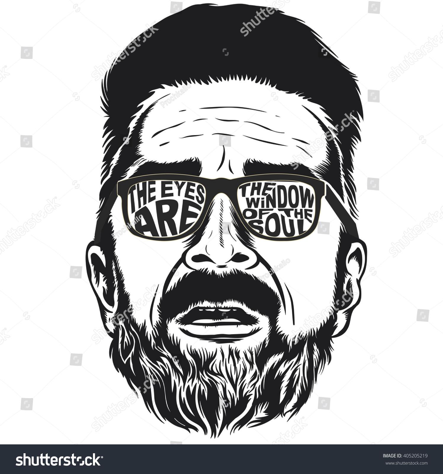 Bearded Hipster Face Vector Illustration Stock Vector