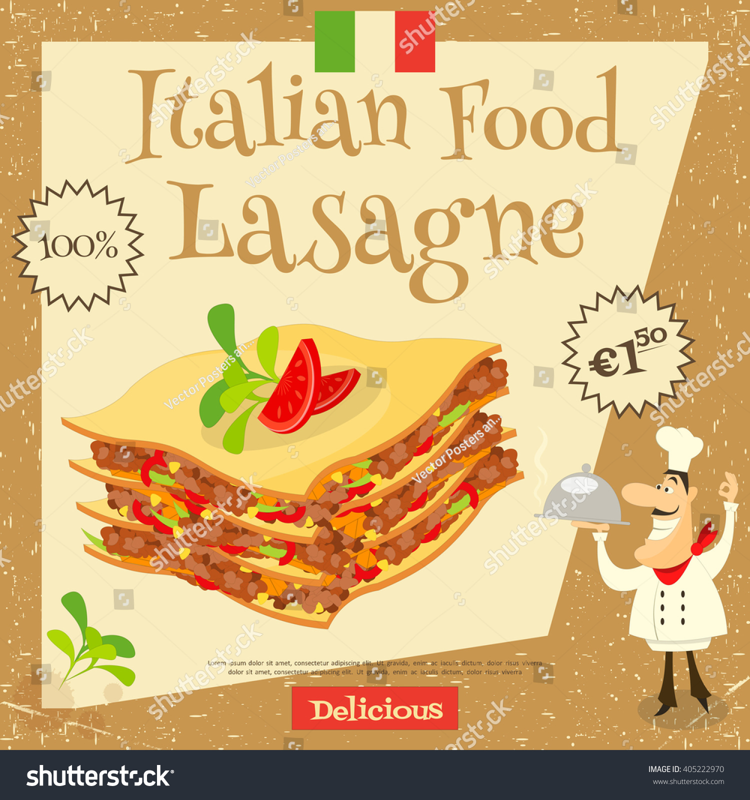 Italian Food Lasagne Cover Menu Advertising Stock Vector ...