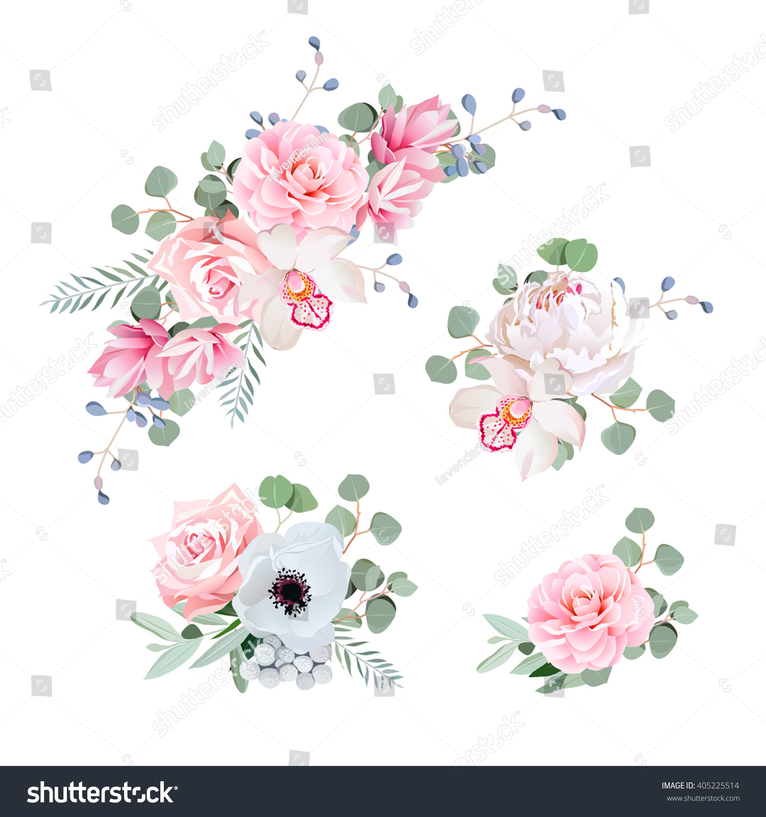 Camellia Illustration Sweet Wedding Bouquets...