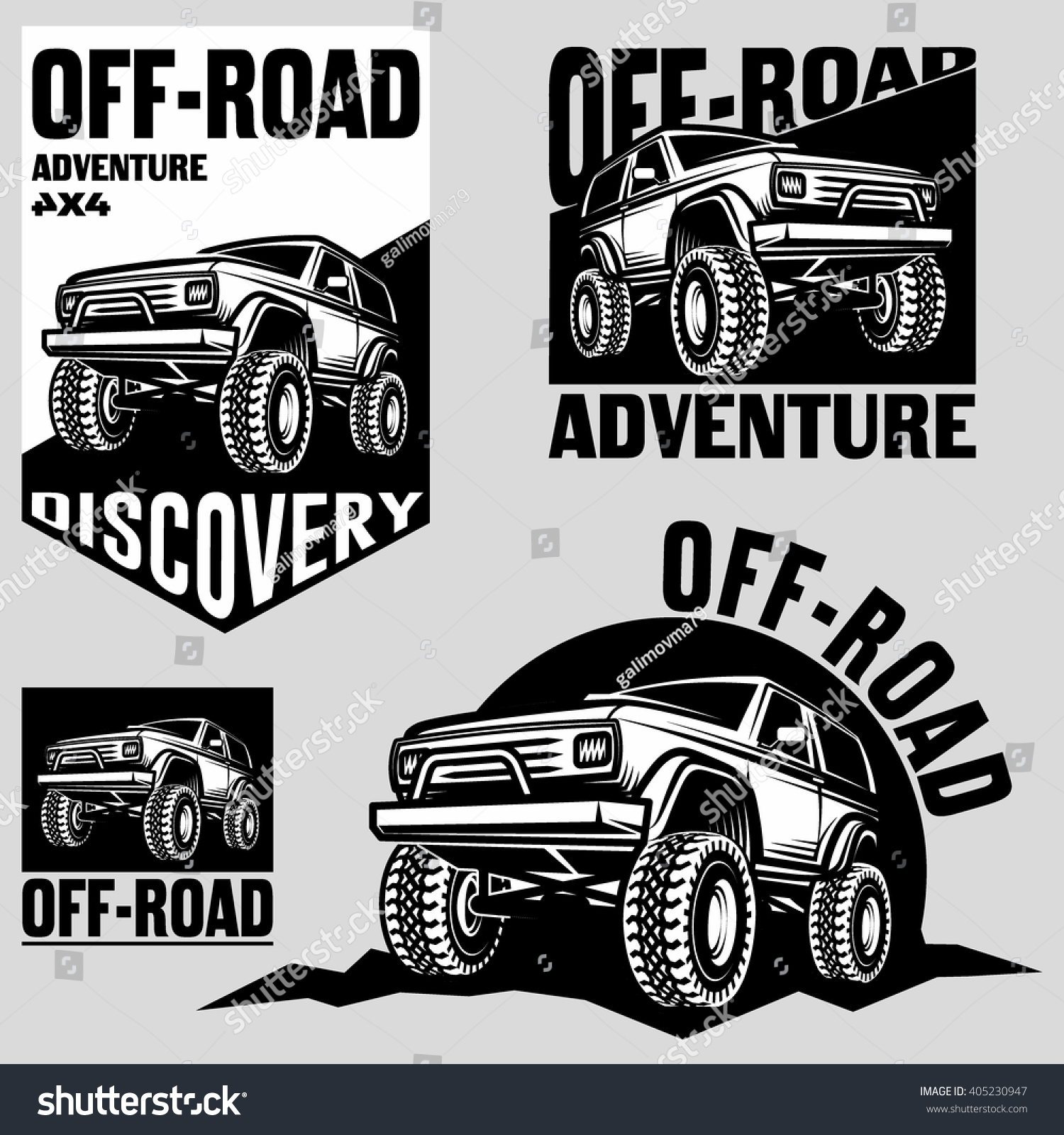 Design car club logo - Off Road Car Club Classic Design Elements Emblems Logo 4x4 Set Silhouette