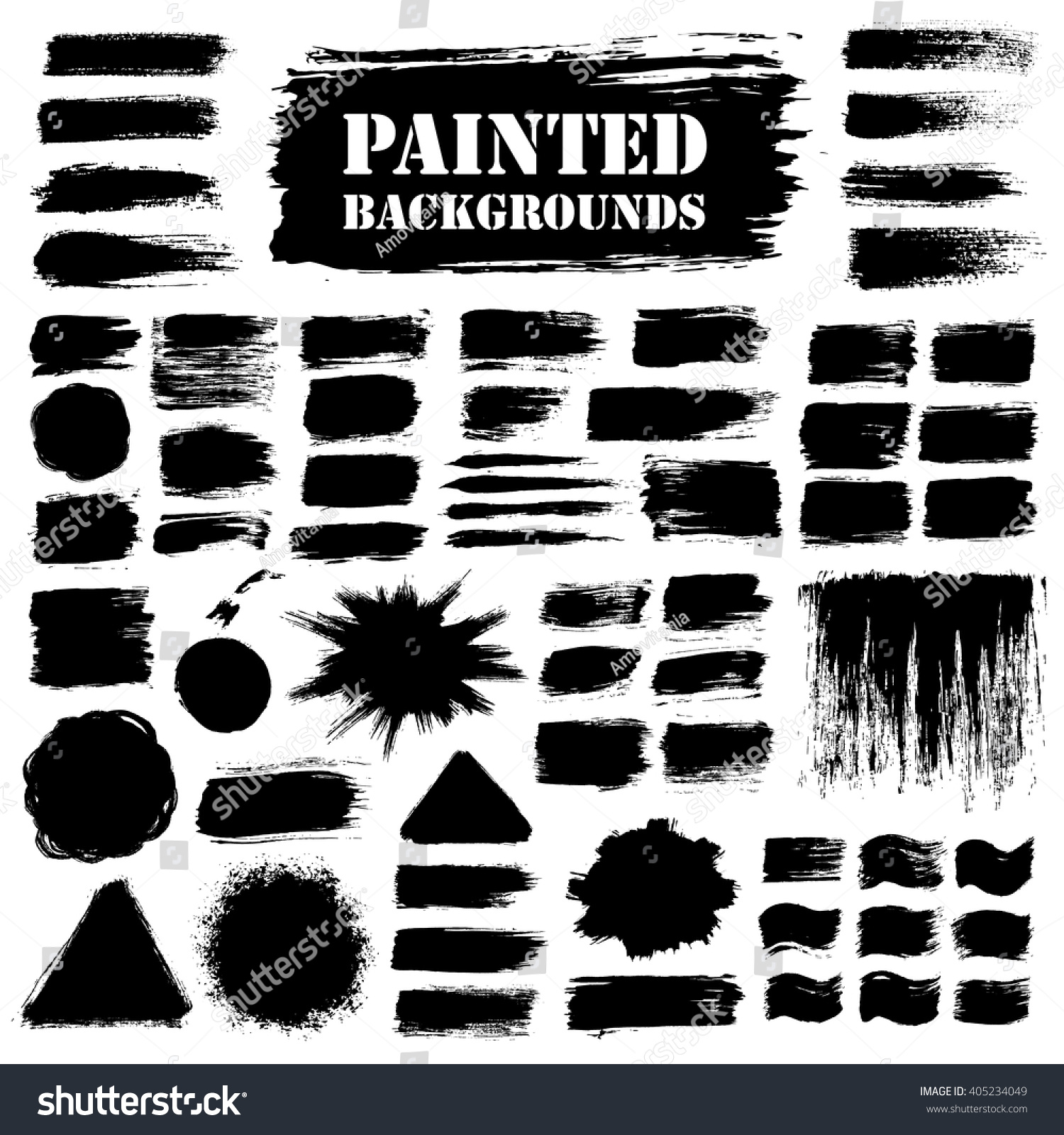 Painted grunge strips set. Textured labels, long banners. Burst background, paint distress texture. Brush strokes vector. Triangle, square and round shape. Torn design elements. Black stripes and star #405234049