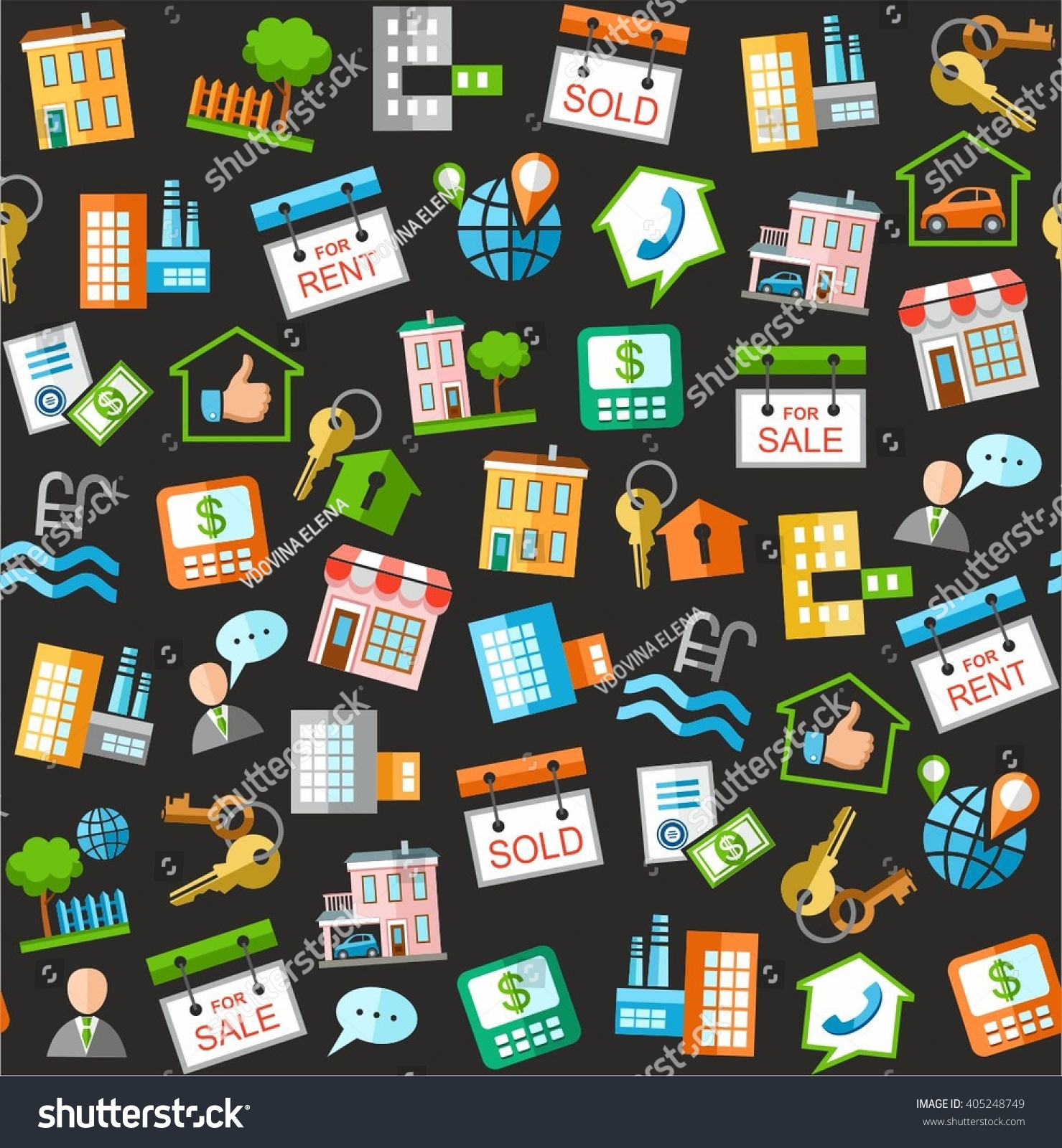 Property Real Estate Services Black Background Stock Vector Royalty Free 405248749