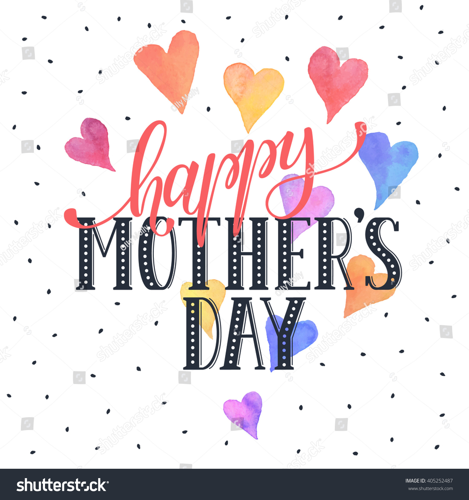Mothers day greeting card template happy stock vector 405252487 mothers day greeting card template happy mothers day wording with watercolor hearts on background kristyandbryce Choice Image